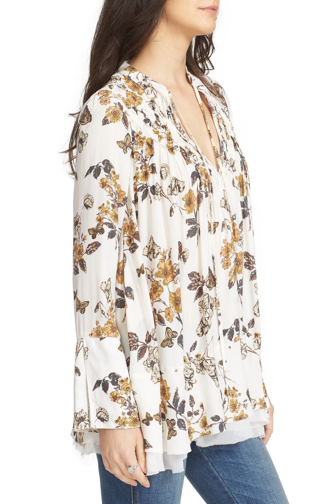 Floral Print Smocked Tunic,                             Alternate thumbnail 3, color,                             Ivory Combo