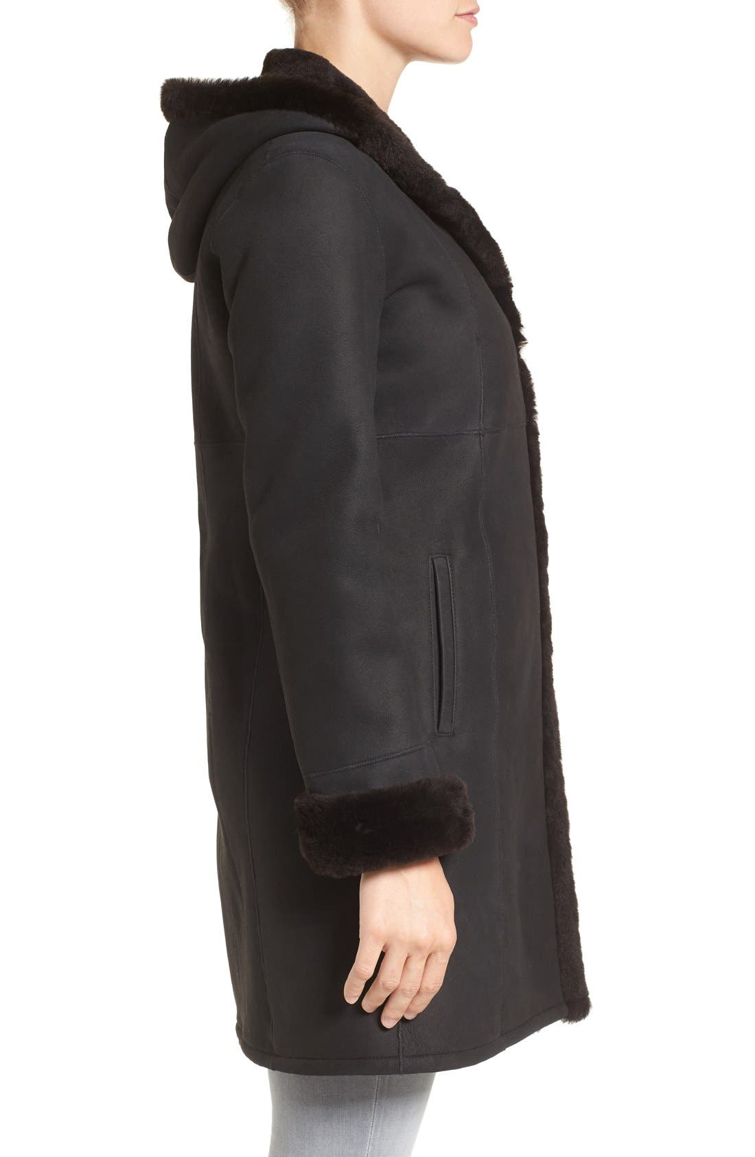 Fitted Genuine Shearling Coat,                             Alternate thumbnail 3, color,                             Mocha