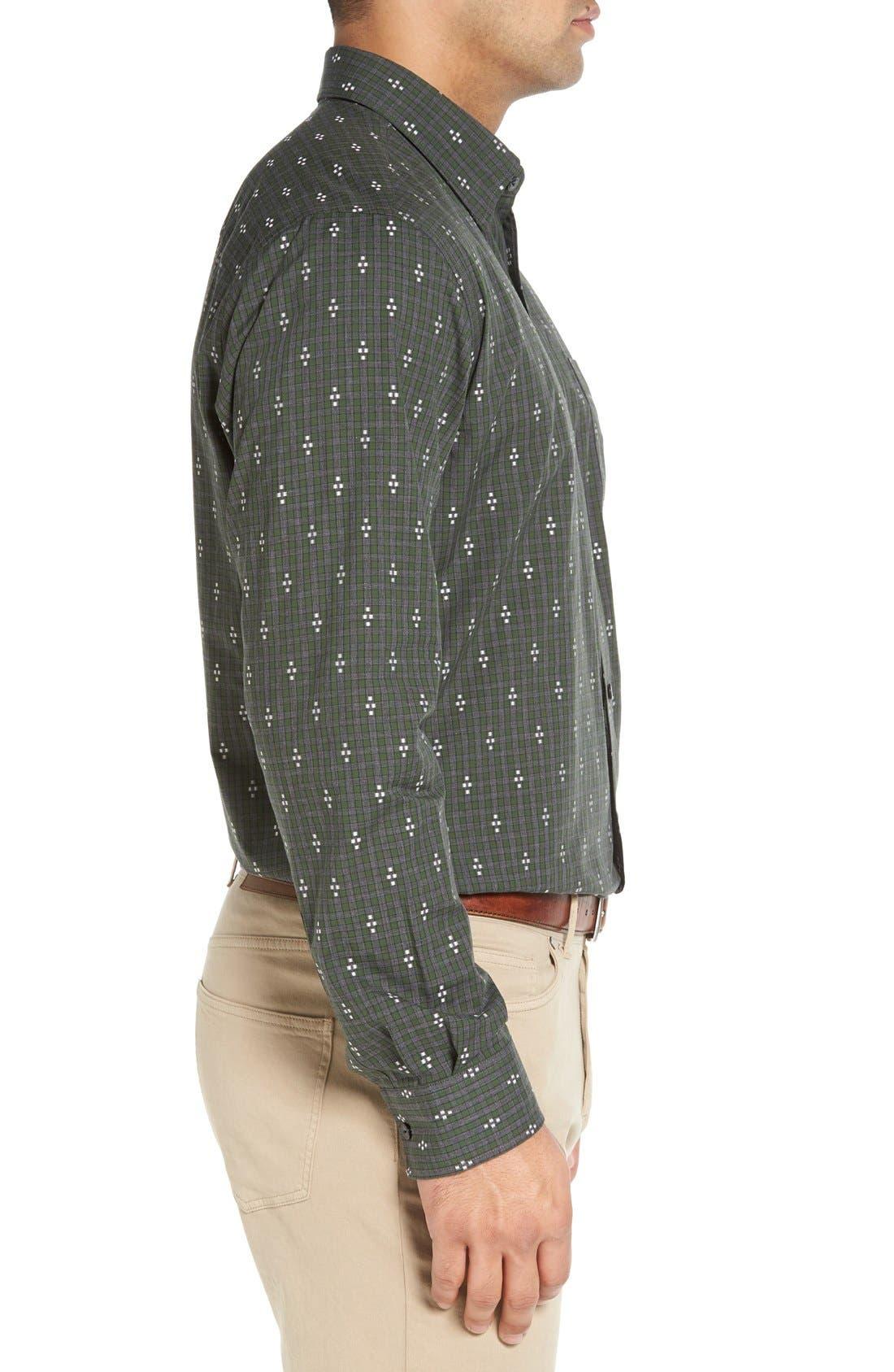 'Maxwell' Jacquard Check Sport Shirt,                             Alternate thumbnail 4, color,                             Grey/ Multi