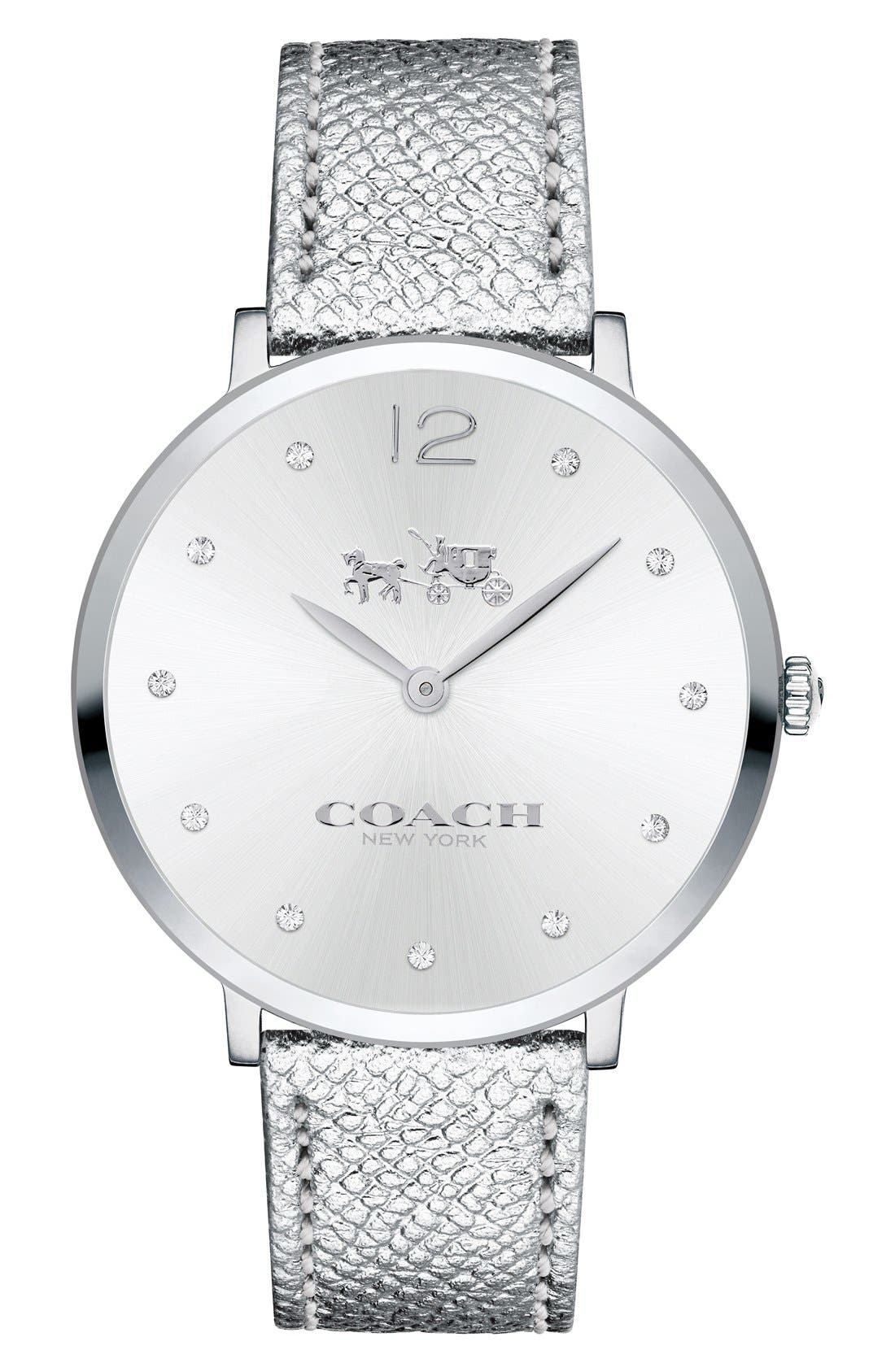 COACH 'Slim Easton' Leather Strap Watch, 35mm