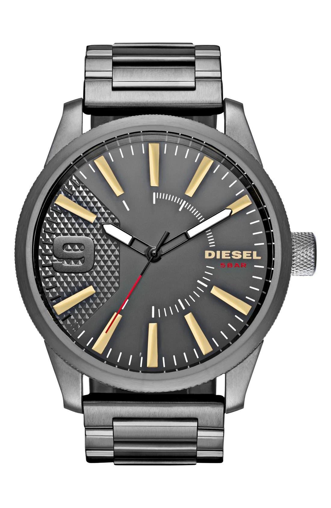DIESEL<SUP>®</SUP> Rasp Bracelet Watch, 46mm