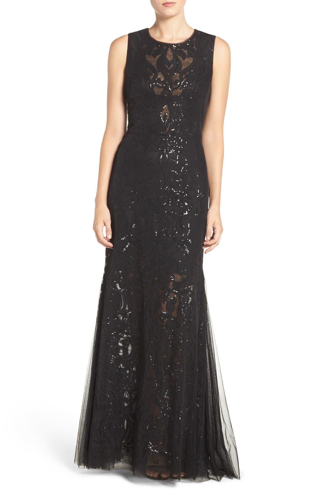 Sequin Lace & Tulle Gown,                             Main thumbnail 1, color,                             Black