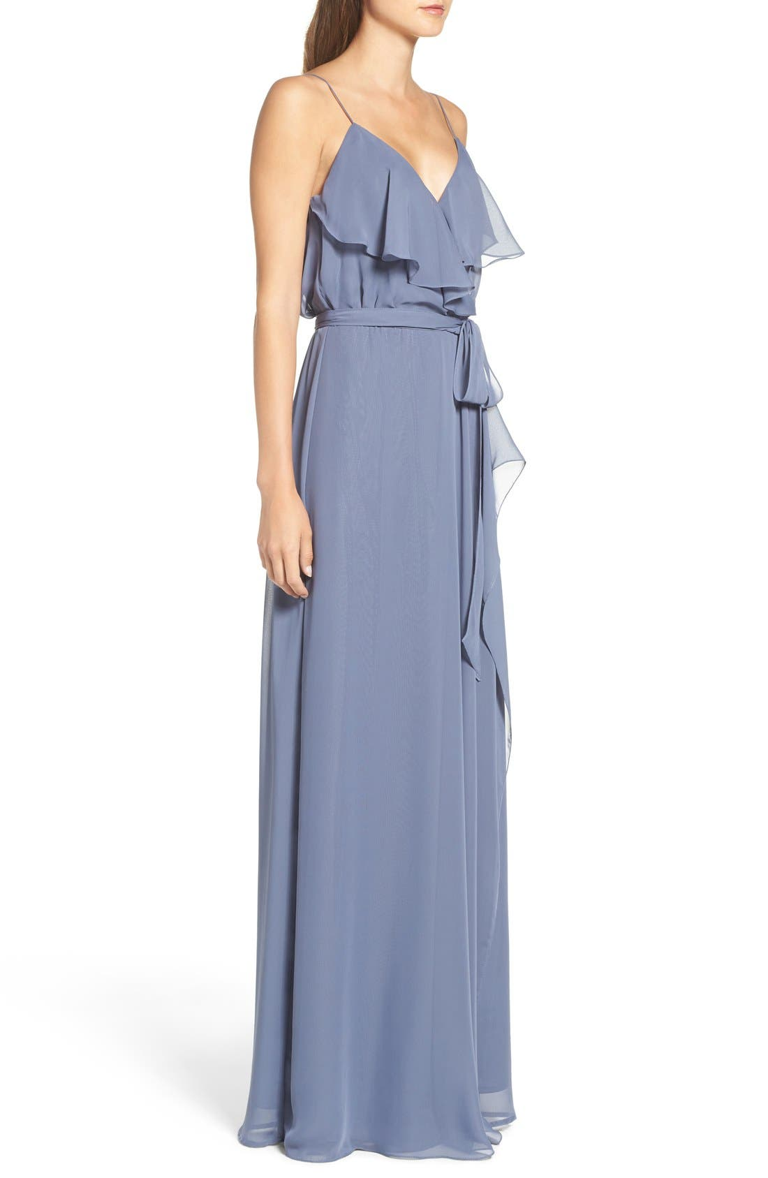 'Drew' Ruffle Front Chiffon Gown,                             Alternate thumbnail 4, color,                             Blue Steel