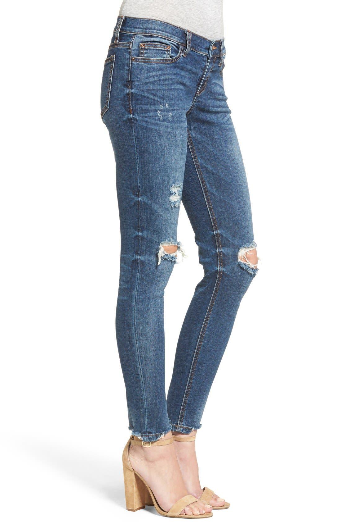 Raw Edge Skinny Jeans,                             Alternate thumbnail 3, color,                             Med Wash