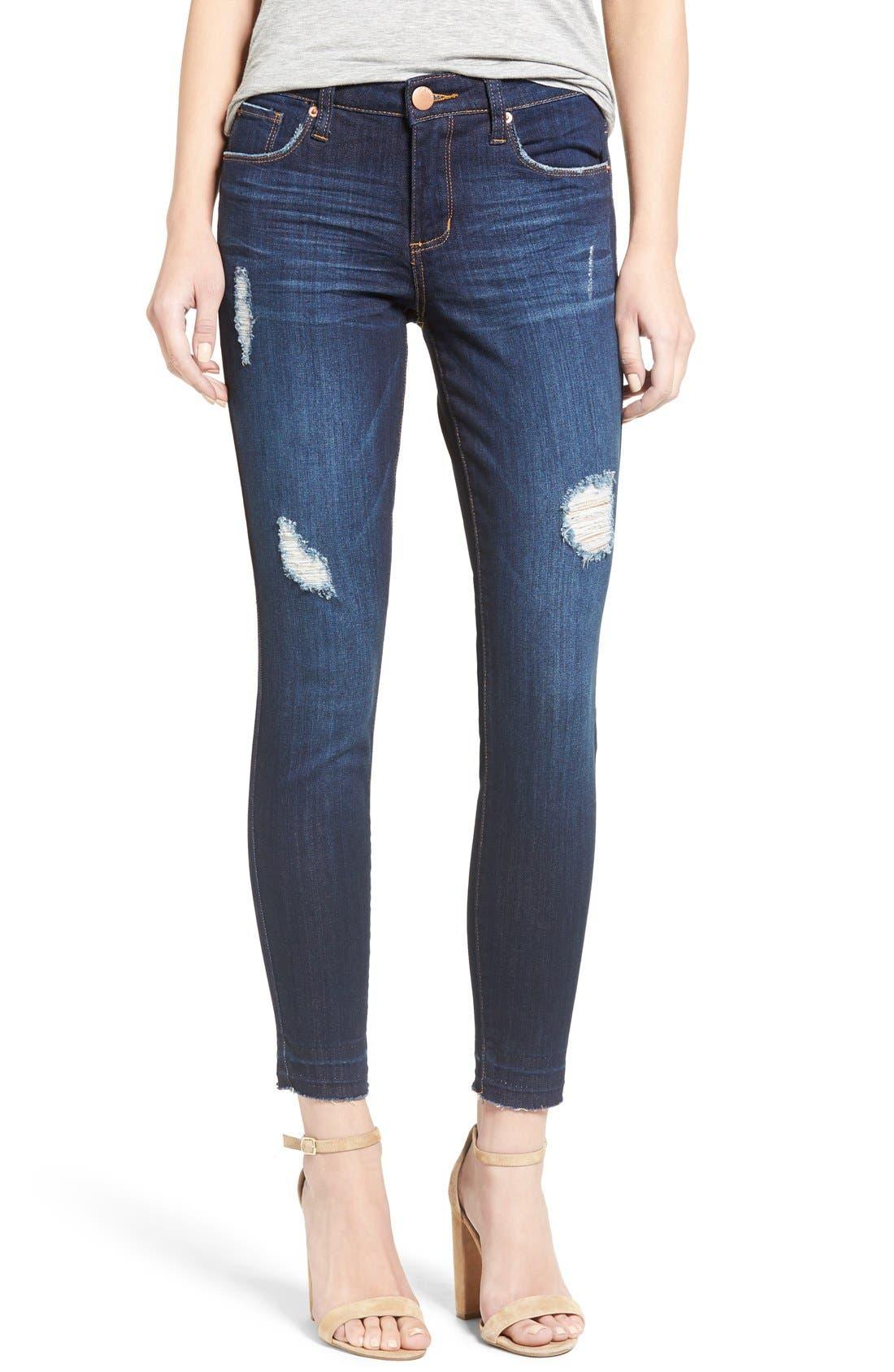 'Emma' Release Hem Skinny Jeans,                             Main thumbnail 1, color,                             East La Canada