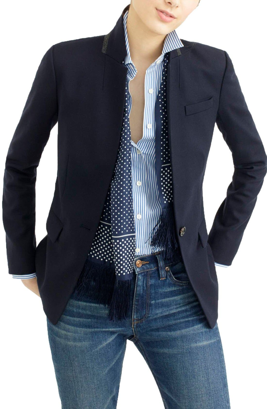 Regent Stand Collar Blazer,                             Main thumbnail 1, color,                             Navy