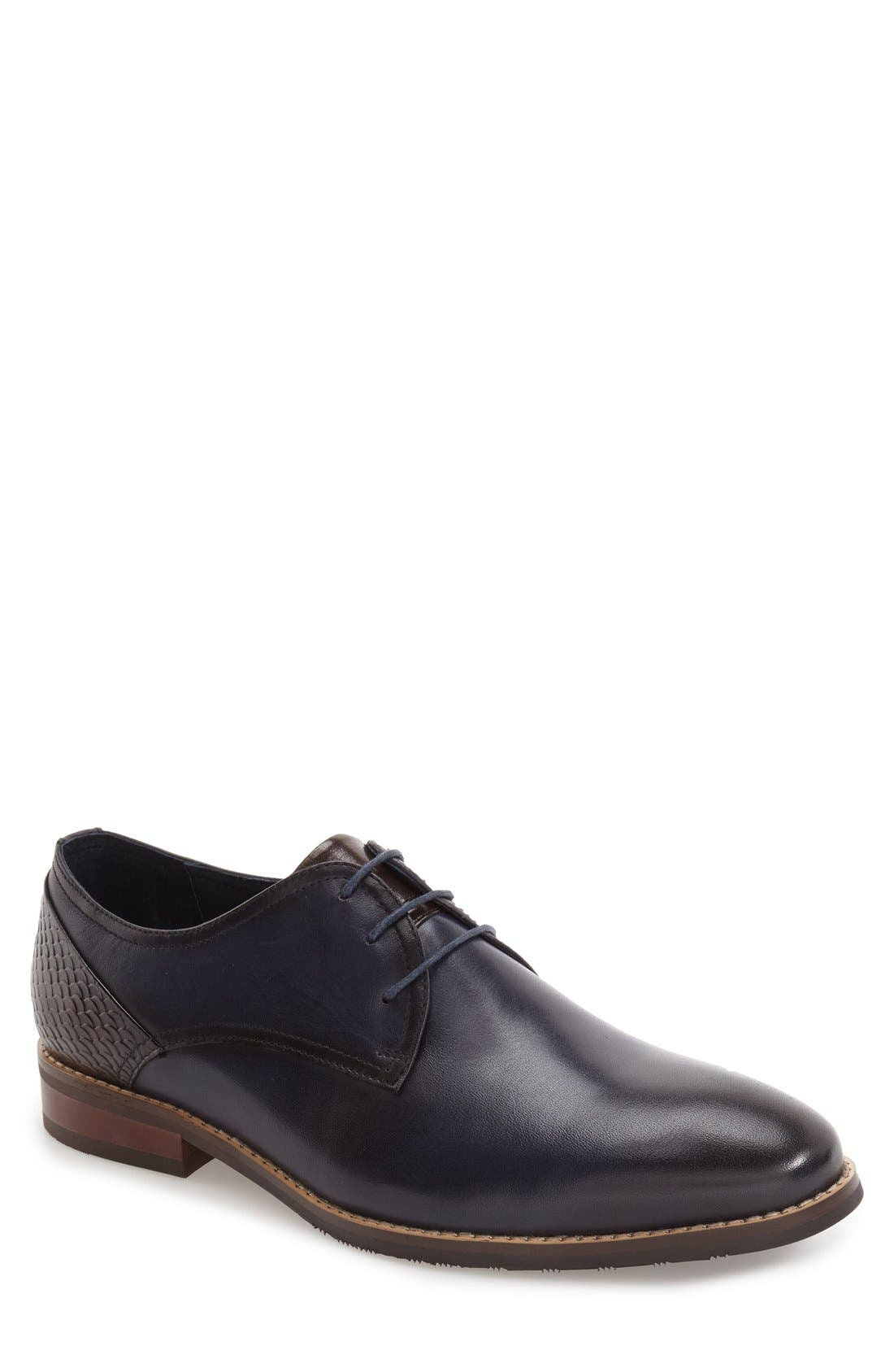 'Seattle' Plain Toe Derby,                             Main thumbnail 1, color,                             Navy Leather