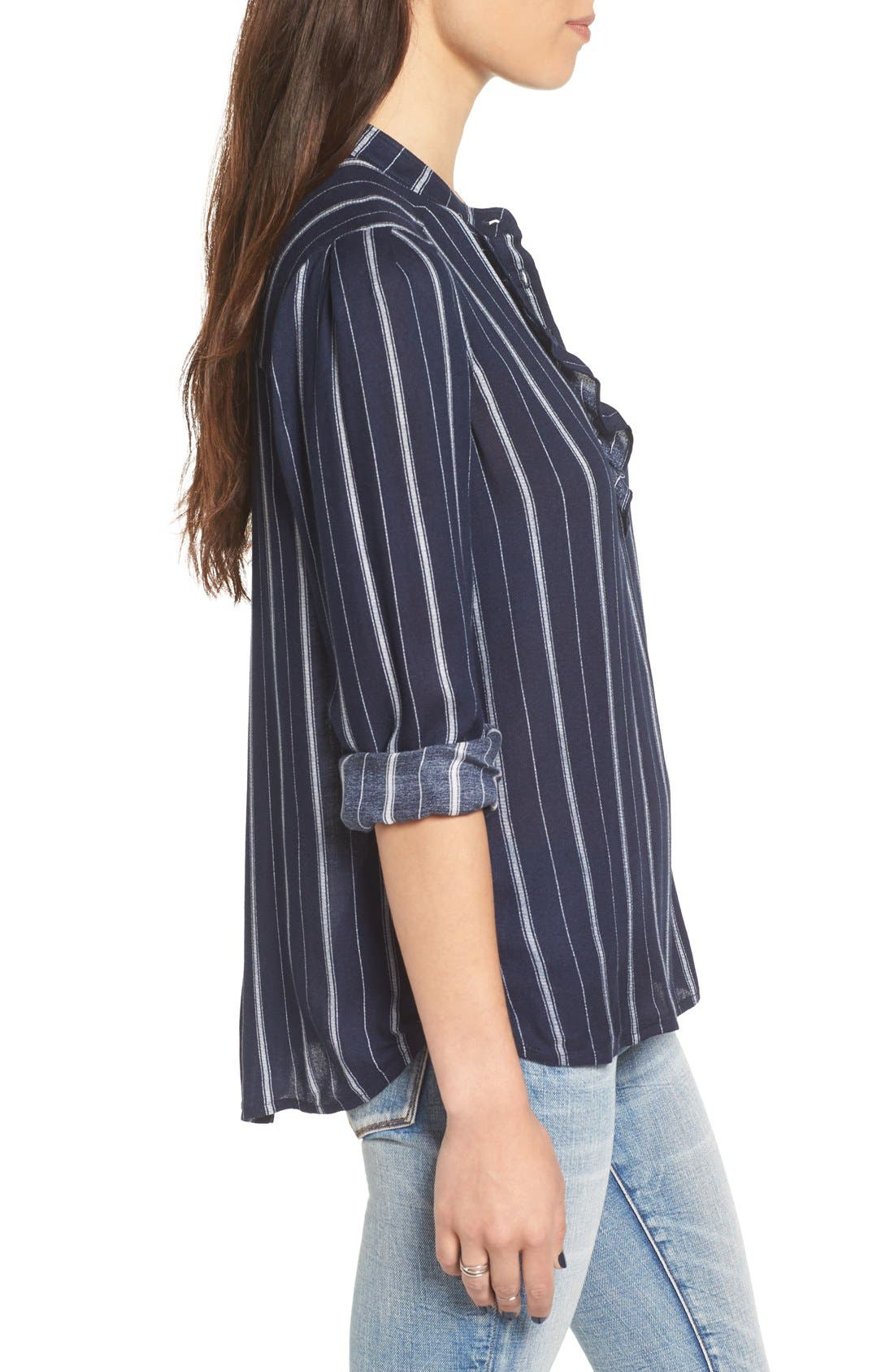 Alternate Image 3  - BP. Stripe Ruffle Popover Shirt