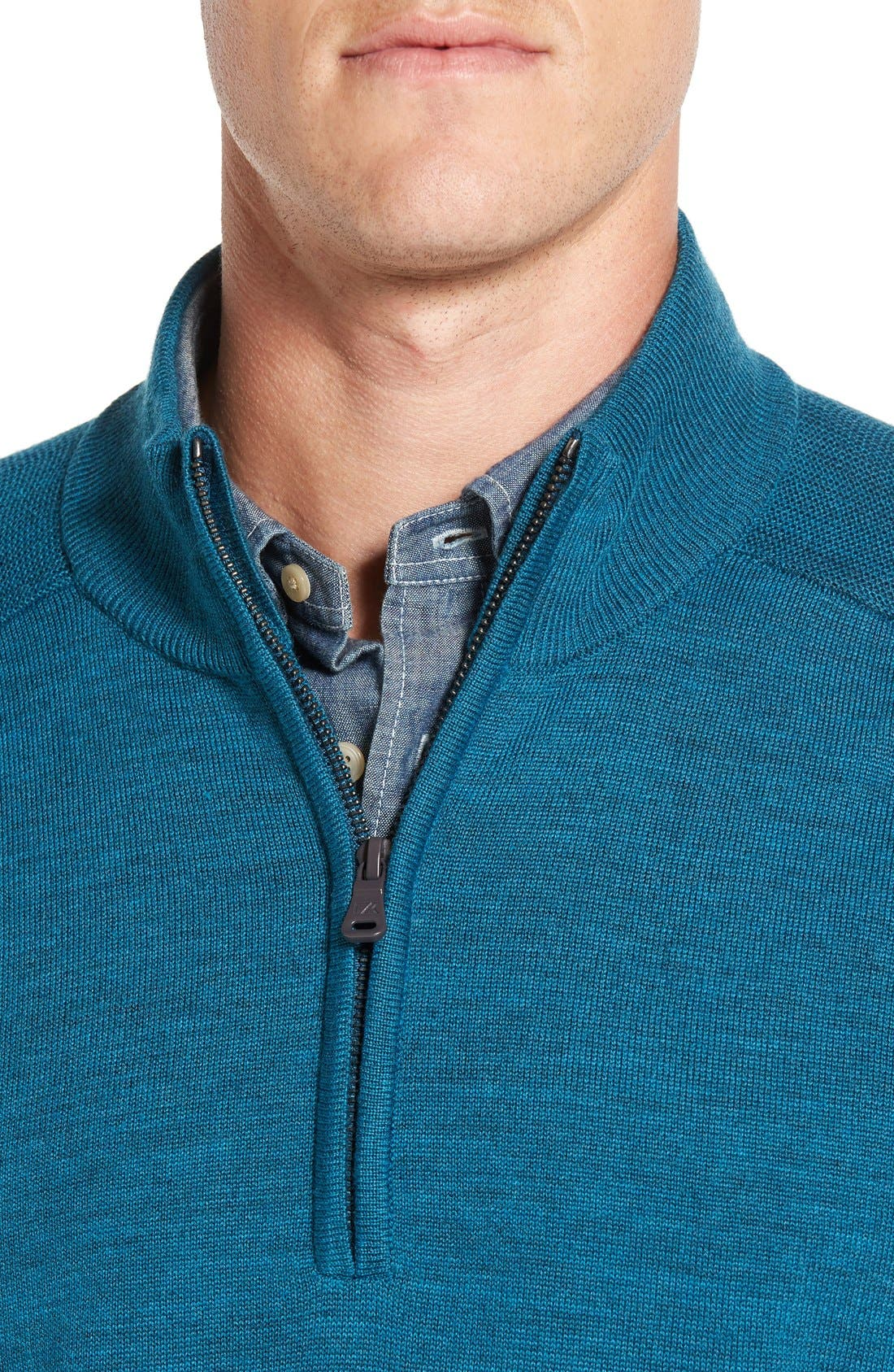 Douglas Quarter Zip Wool Blend Sweater,                             Alternate thumbnail 4, color,                             Mykonos Heather