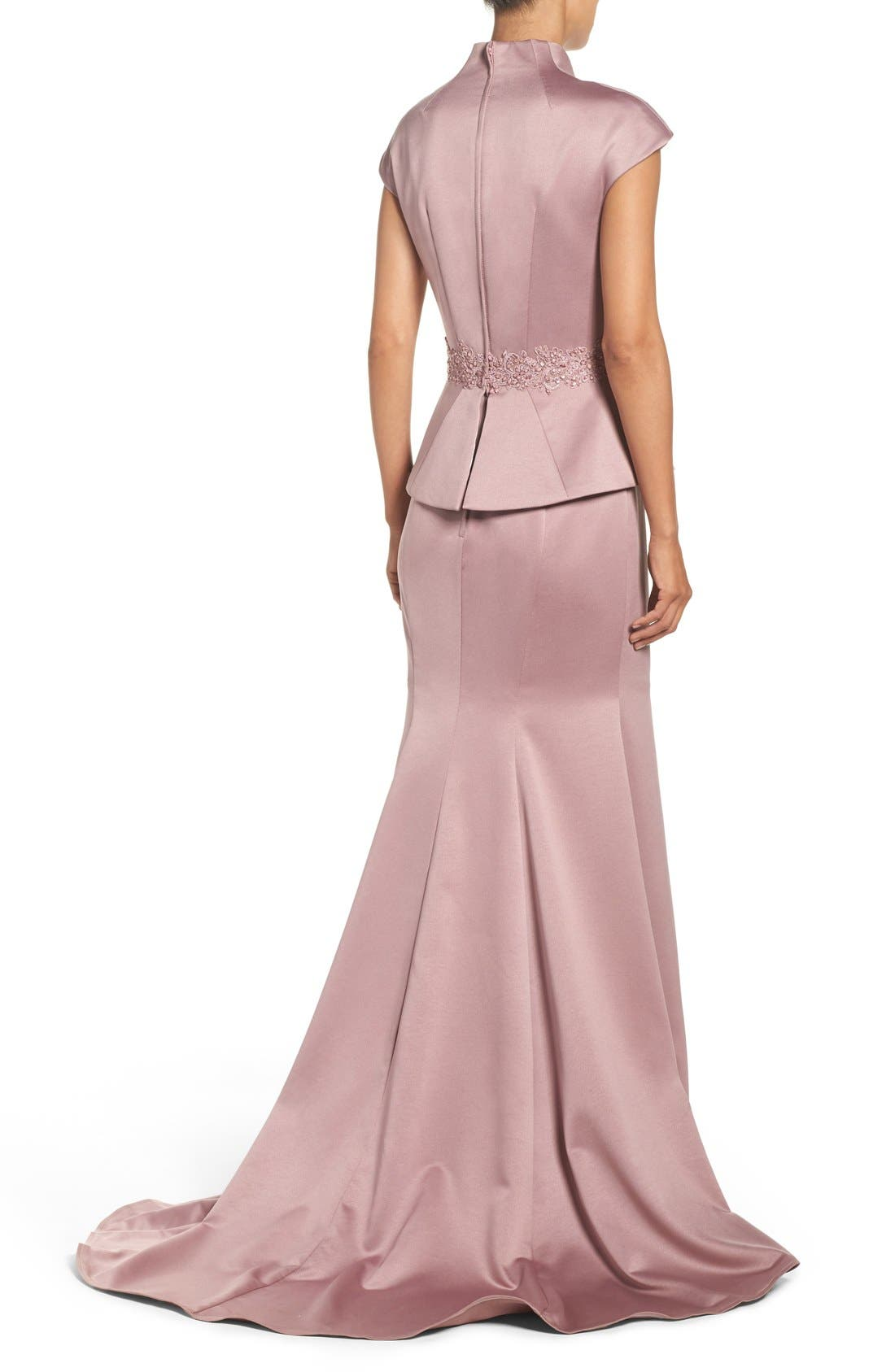 Alternate Image 2  - La Femme Mock Two-Piece Satin Gown