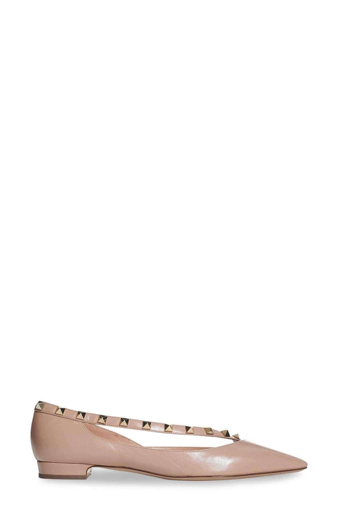 'Rockstud' Demi d'Orsay Flat,                             Alternate thumbnail 3, color,                             Nude Leather