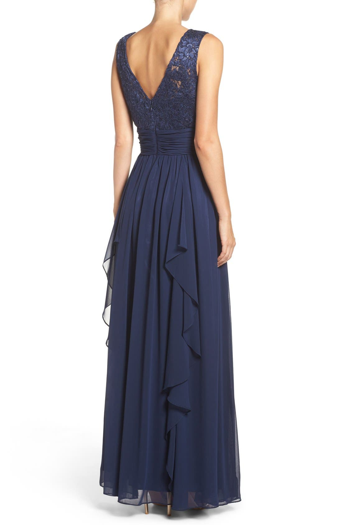 Lace & Chiffon Gown,                             Alternate thumbnail 2, color,                             Navy