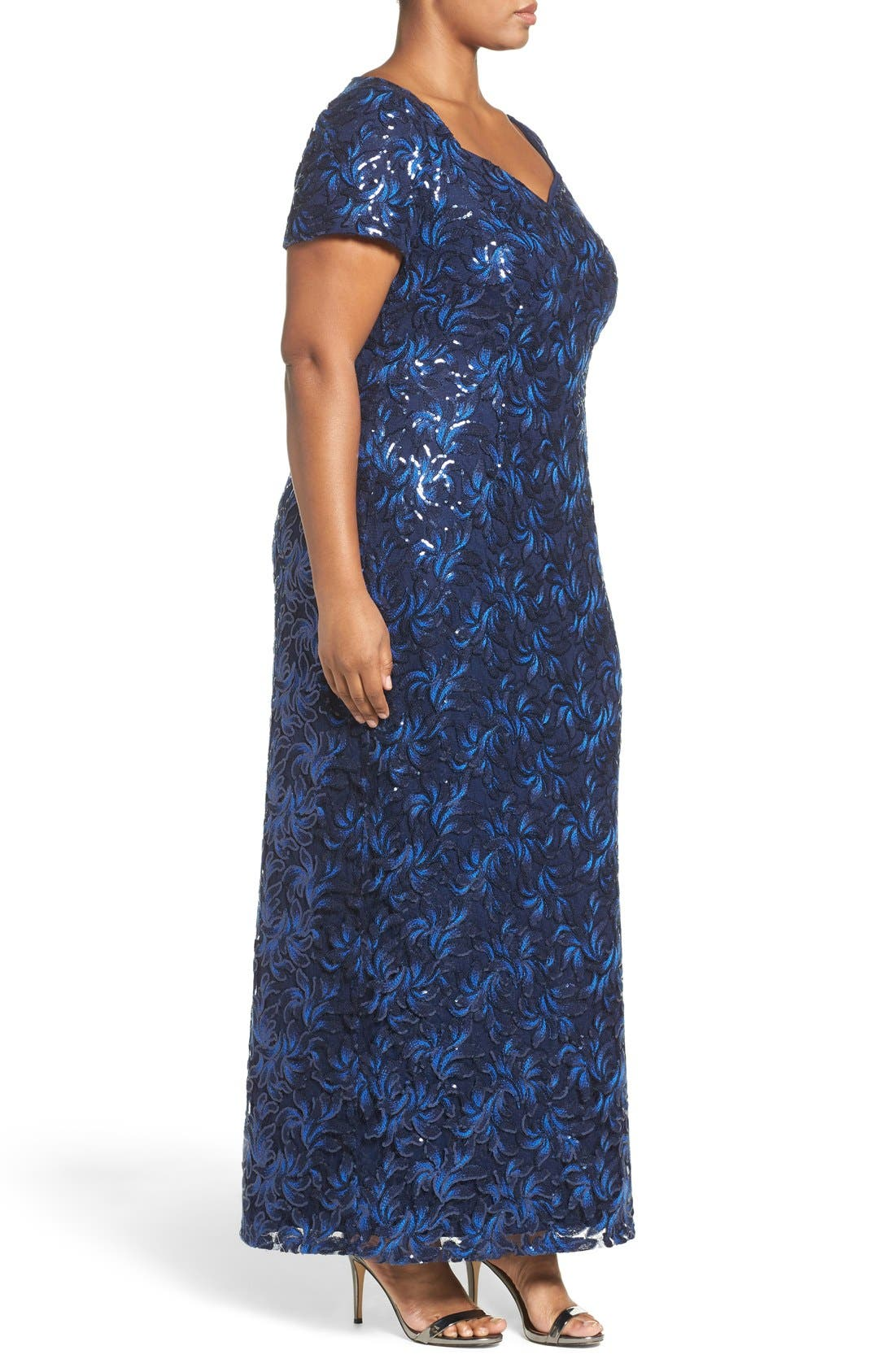 Alternate Image 3  - Brianna Sequin Embroidered Sweetheart Gown (Plus Size)