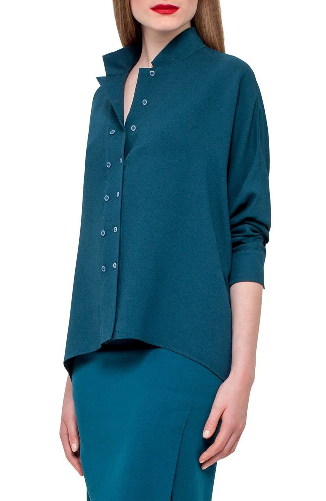 Akris Double Breasted Silk Blouse