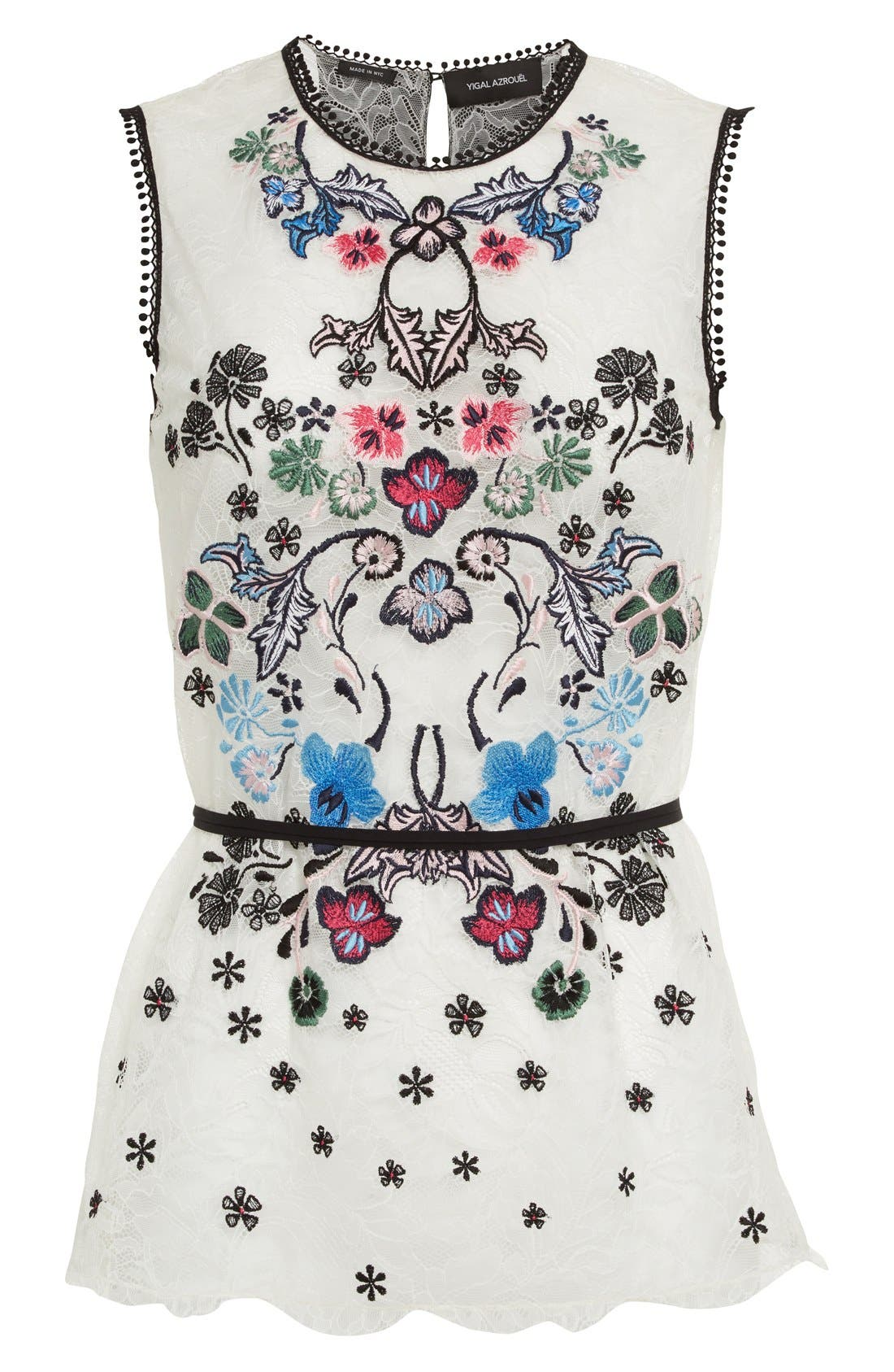 Alternate Image 4  - Yigal Azrouël Floral Embroidered Lace Top