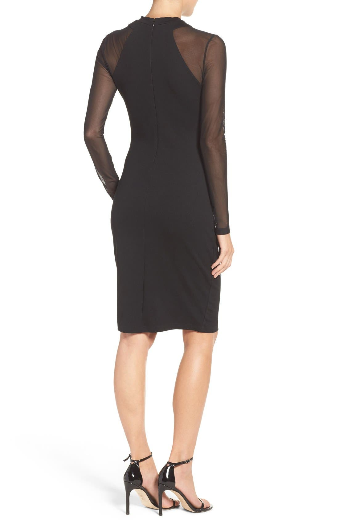 'Tania Tuck' Mesh Sleeve Sheath Dress,                             Alternate thumbnail 2, color,                             Black
