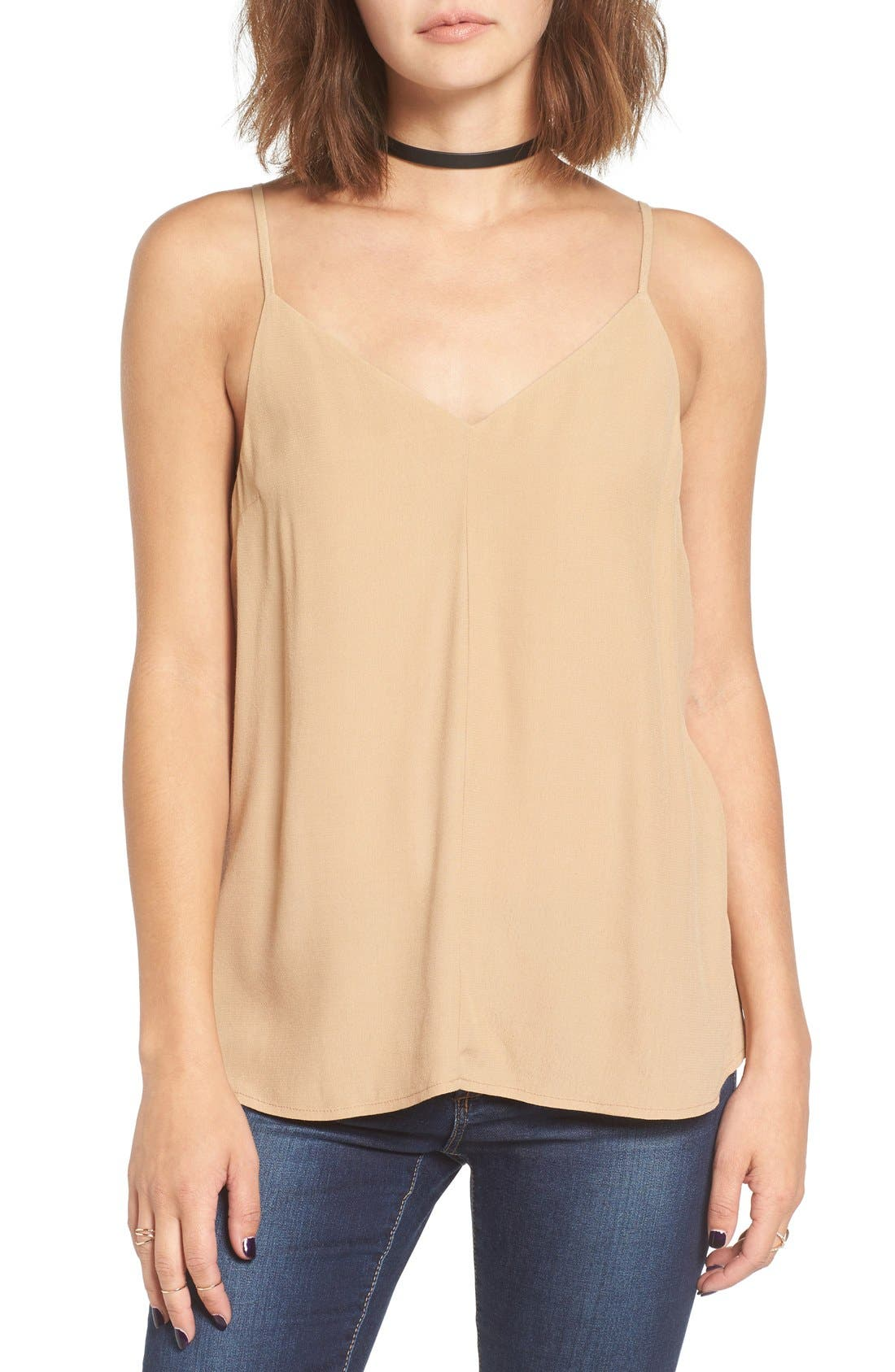 Double V Camisole,                             Main thumbnail 1, color,                             Tan Toffee