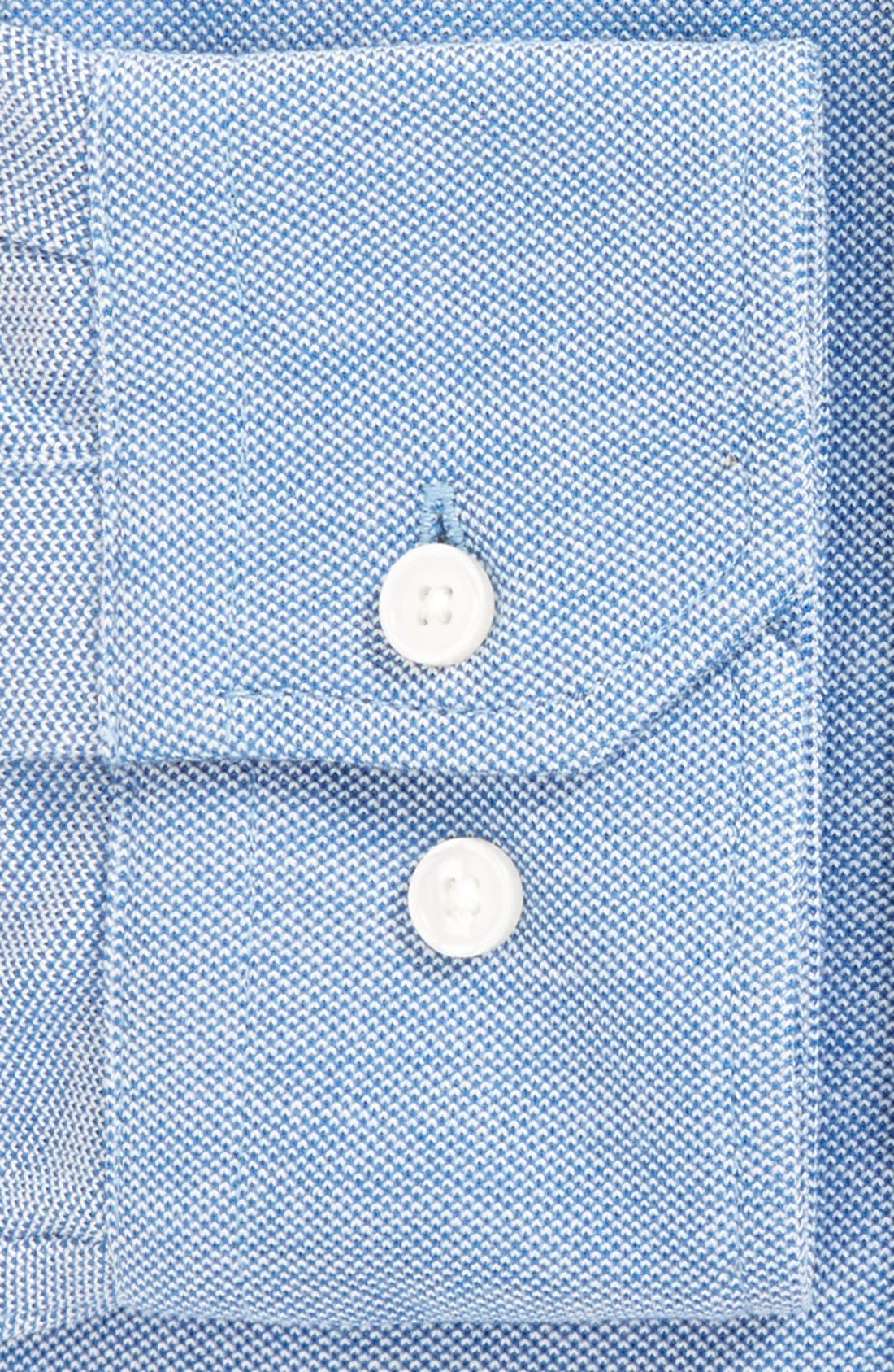 Trim Fit Knit Dress Shirt,                             Alternate thumbnail 3, color,                             Blue Provence