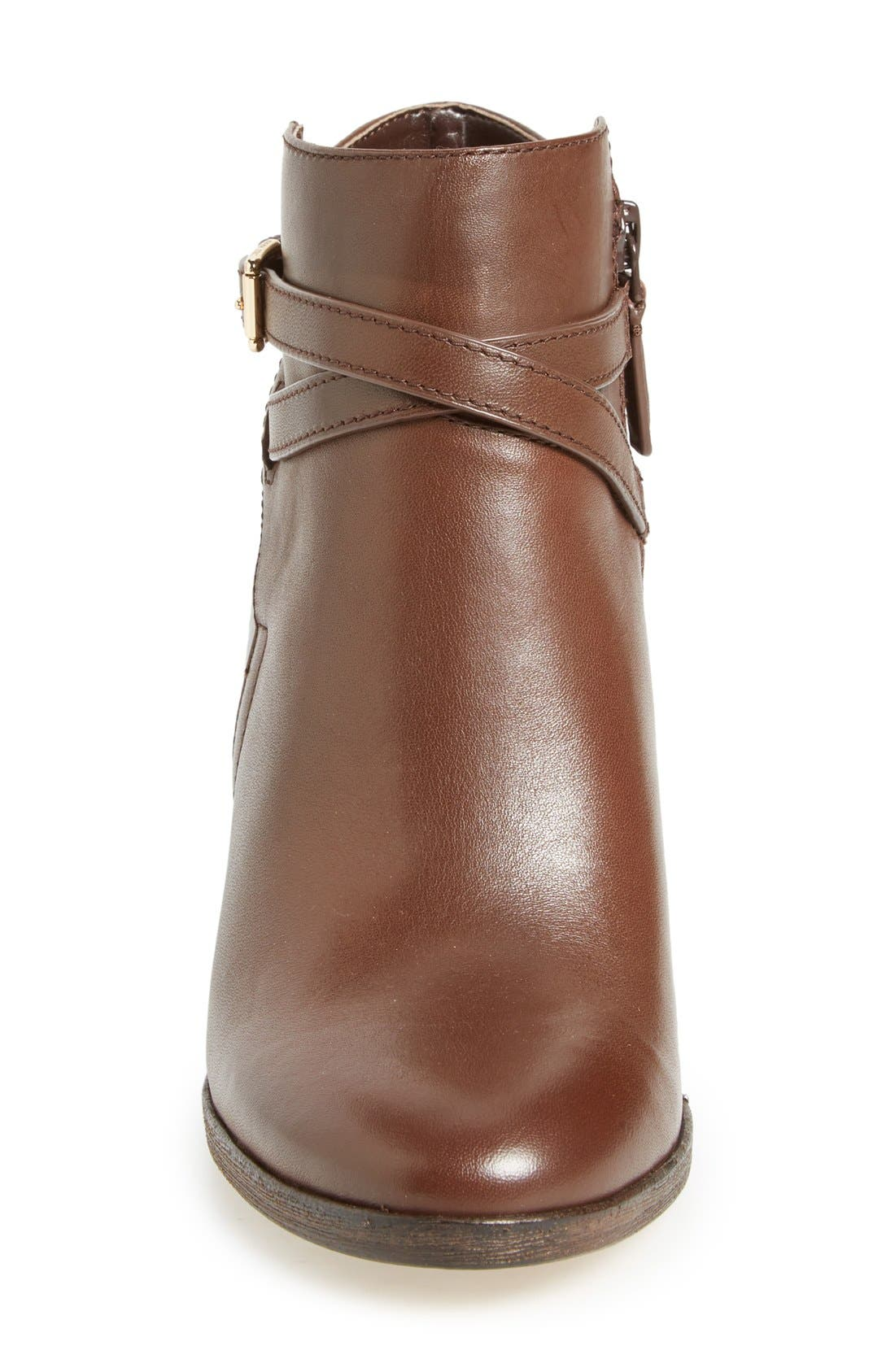 'Hayes' Block Heel Bootie,                             Alternate thumbnail 4, color,                             Chestnut Leather