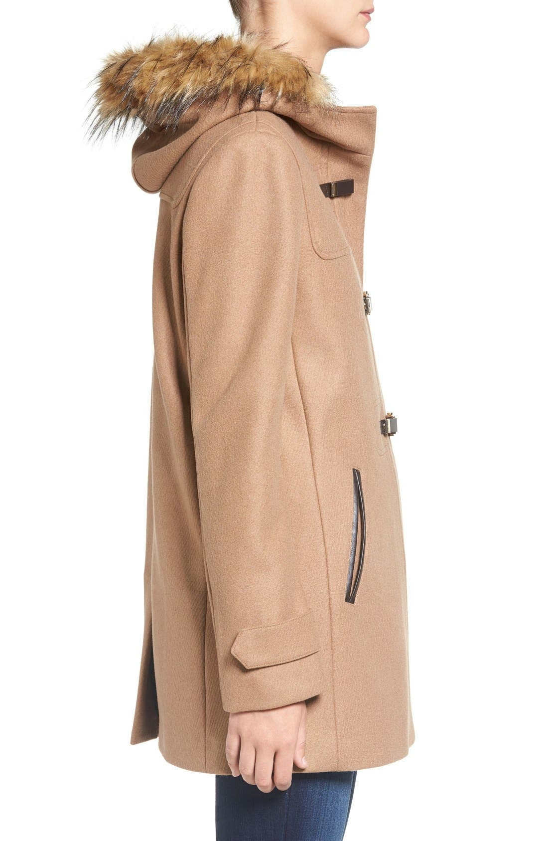Cole Haan Hooded Duffle Coat with Faux Fur Trim,                             Alternate thumbnail 3, color,                             Camel