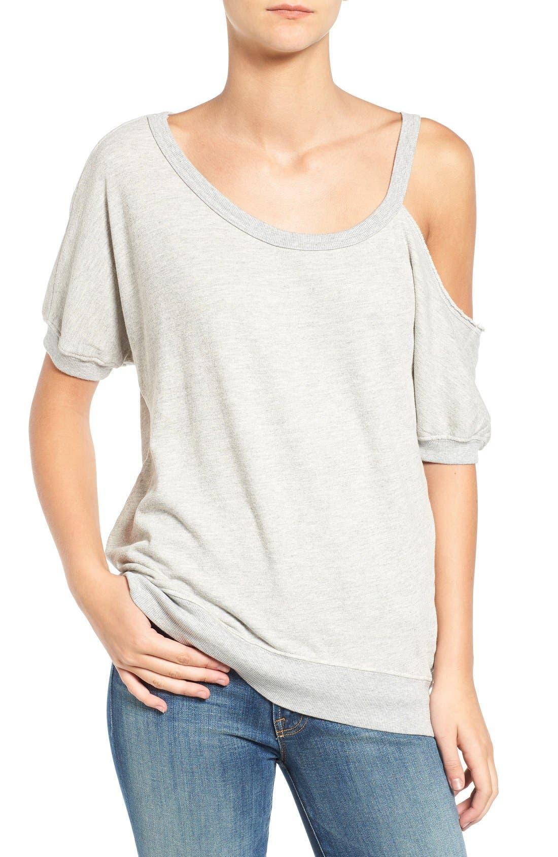 Distressed Open Shoulder Sweatshirt,                             Main thumbnail 1, color,                             Heather Grey