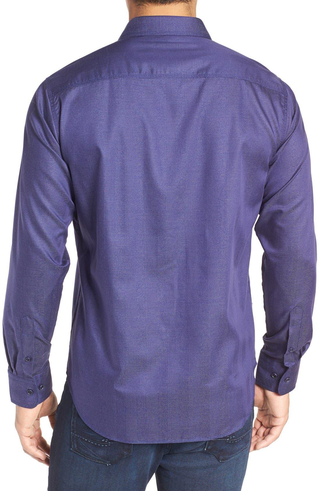 Shaped Fit Stripe Jacquard Sport Shirt,                             Alternate thumbnail 2, color,                             Night Blue