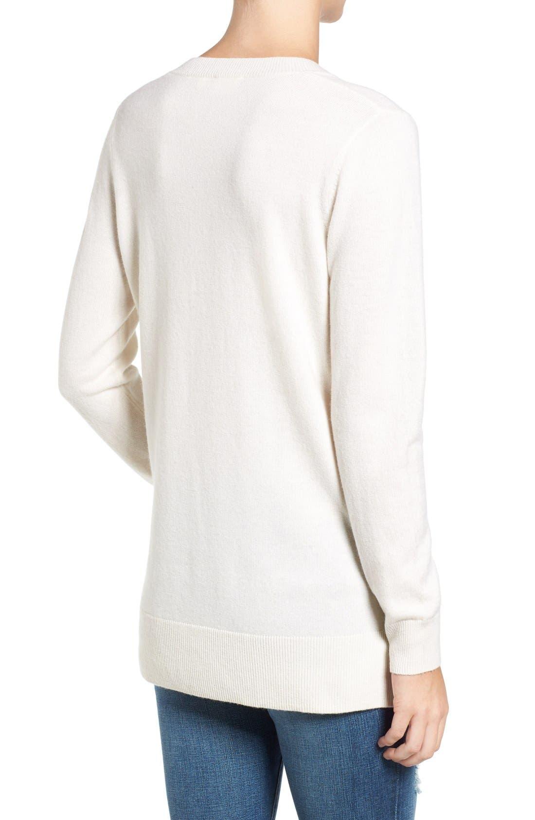 Luna V-Neck Merino & Cashmere Tunic Sweater,                             Alternate thumbnail 2, color,                             Powdered White