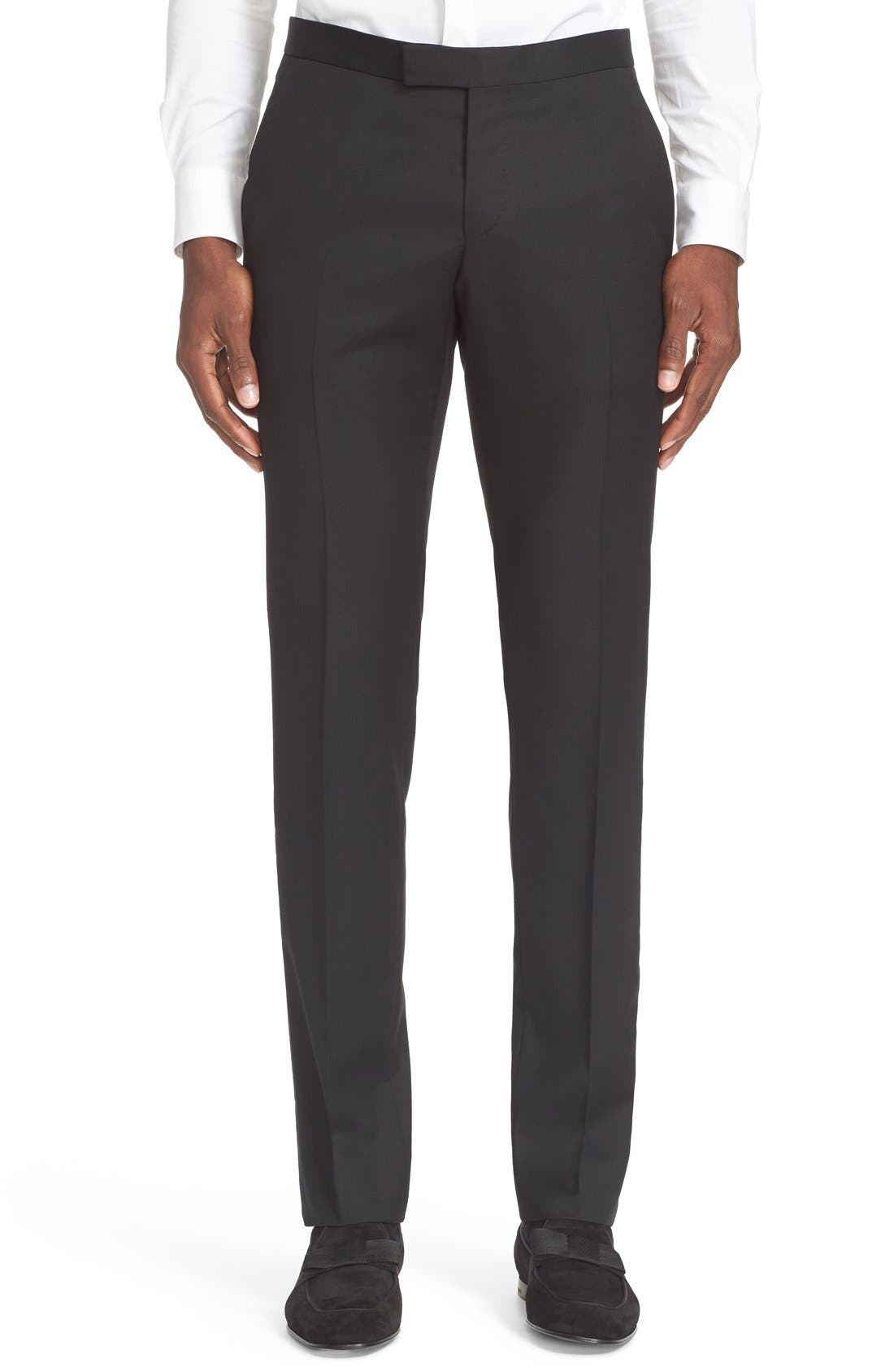 Trim Fit Wool & Mohair Tuxedo,                             Alternate thumbnail 5, color,                             Black
