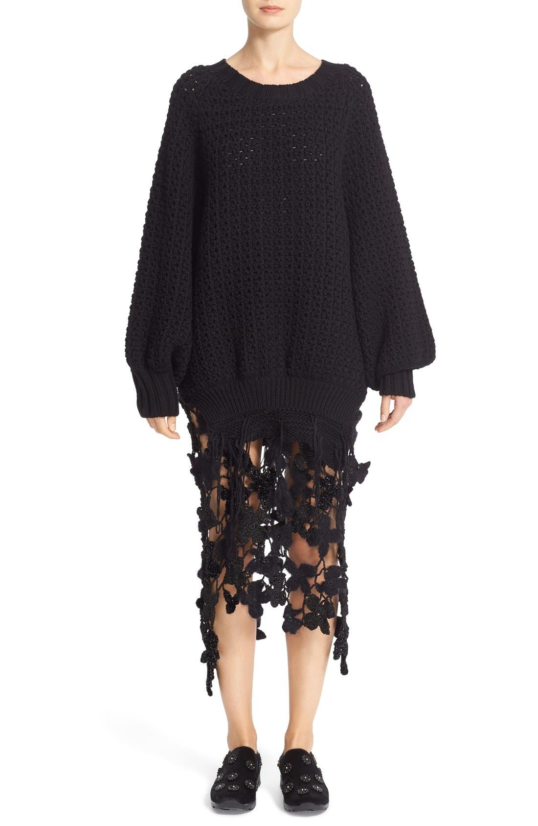 Alternate Image 6  - Simone Rocha Long Chunky Knit Wool Sweater with Fringe