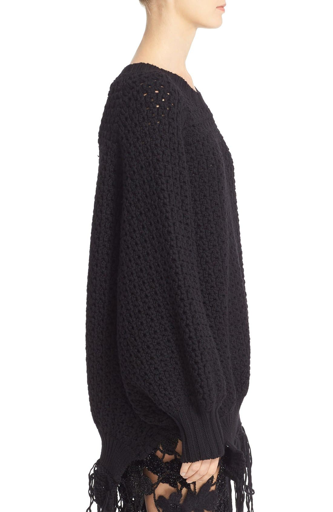 Alternate Image 4  - Simone Rocha Long Chunky Knit Wool Sweater with Fringe