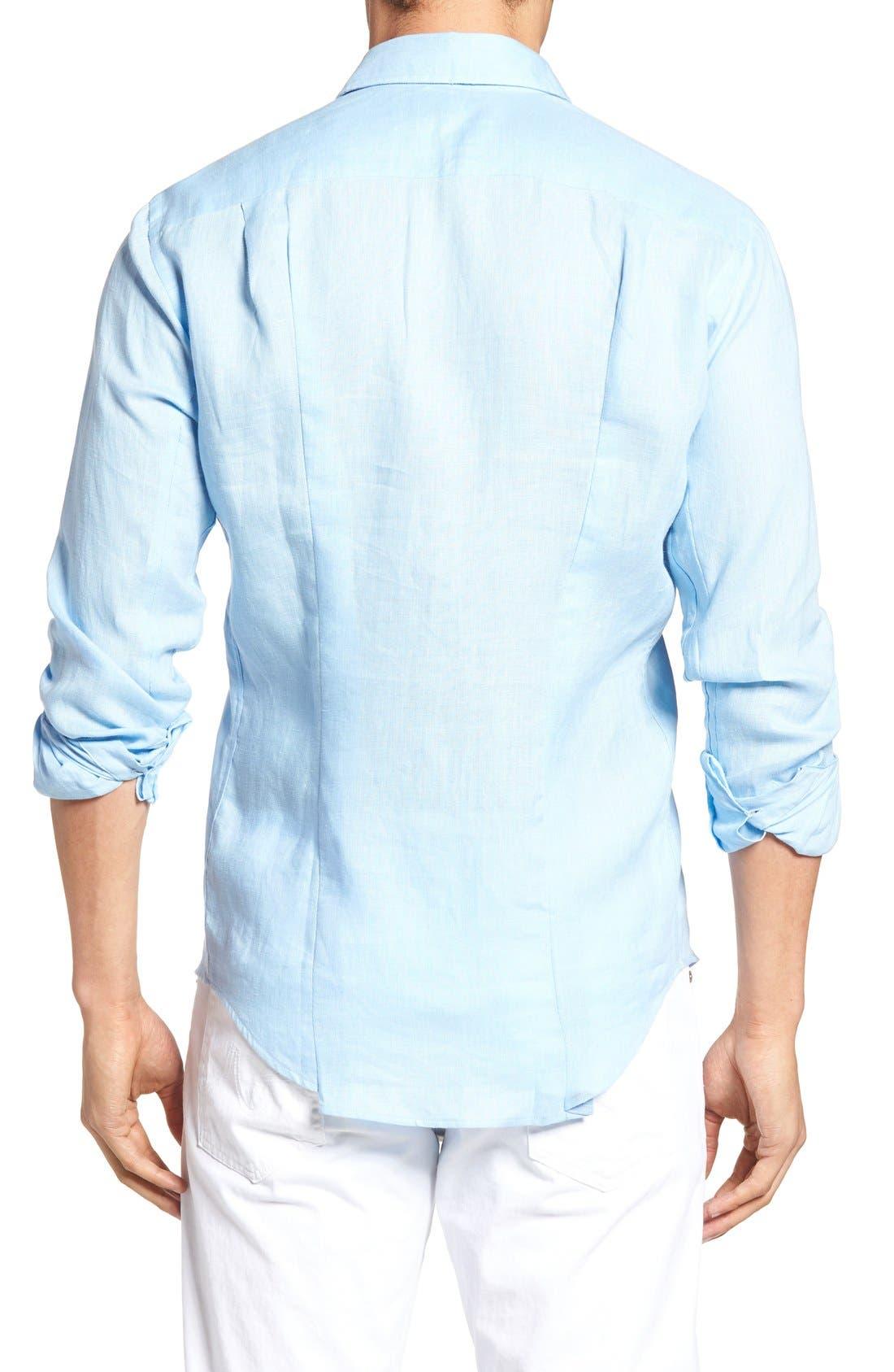 Caroubie Regular Fit Linen Sport Shirt,                             Alternate thumbnail 3, color,                             Sky Blue