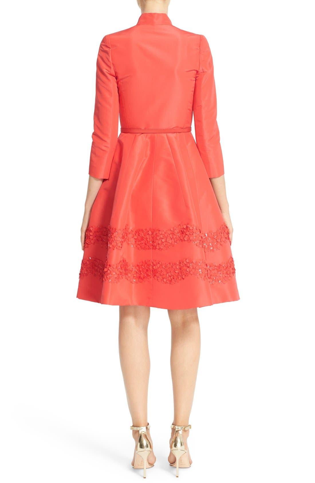 Alternate Image 2  - Carolina Herrera Embellished Belted Silk Faille A-Line Shirtdress