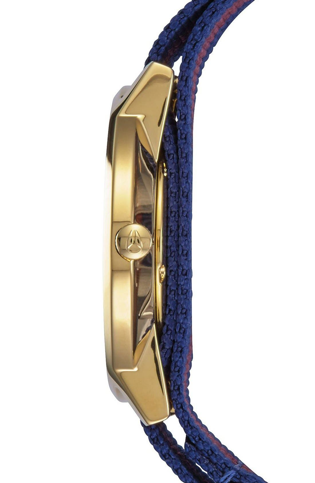 The Porter Nylon Strap Watch, 40mm,                             Alternate thumbnail 3, color,                             Red/ White/ Blue/ Gold