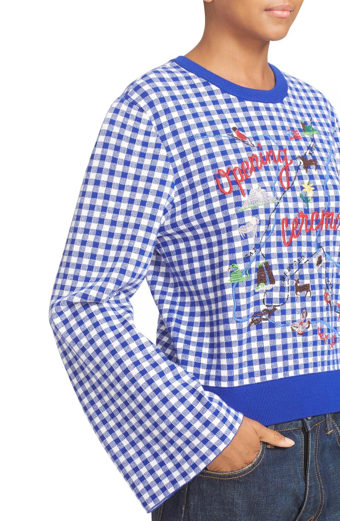 Alternate Image 4  - Opening Ceremony Embroidered Map Gingham Sweater