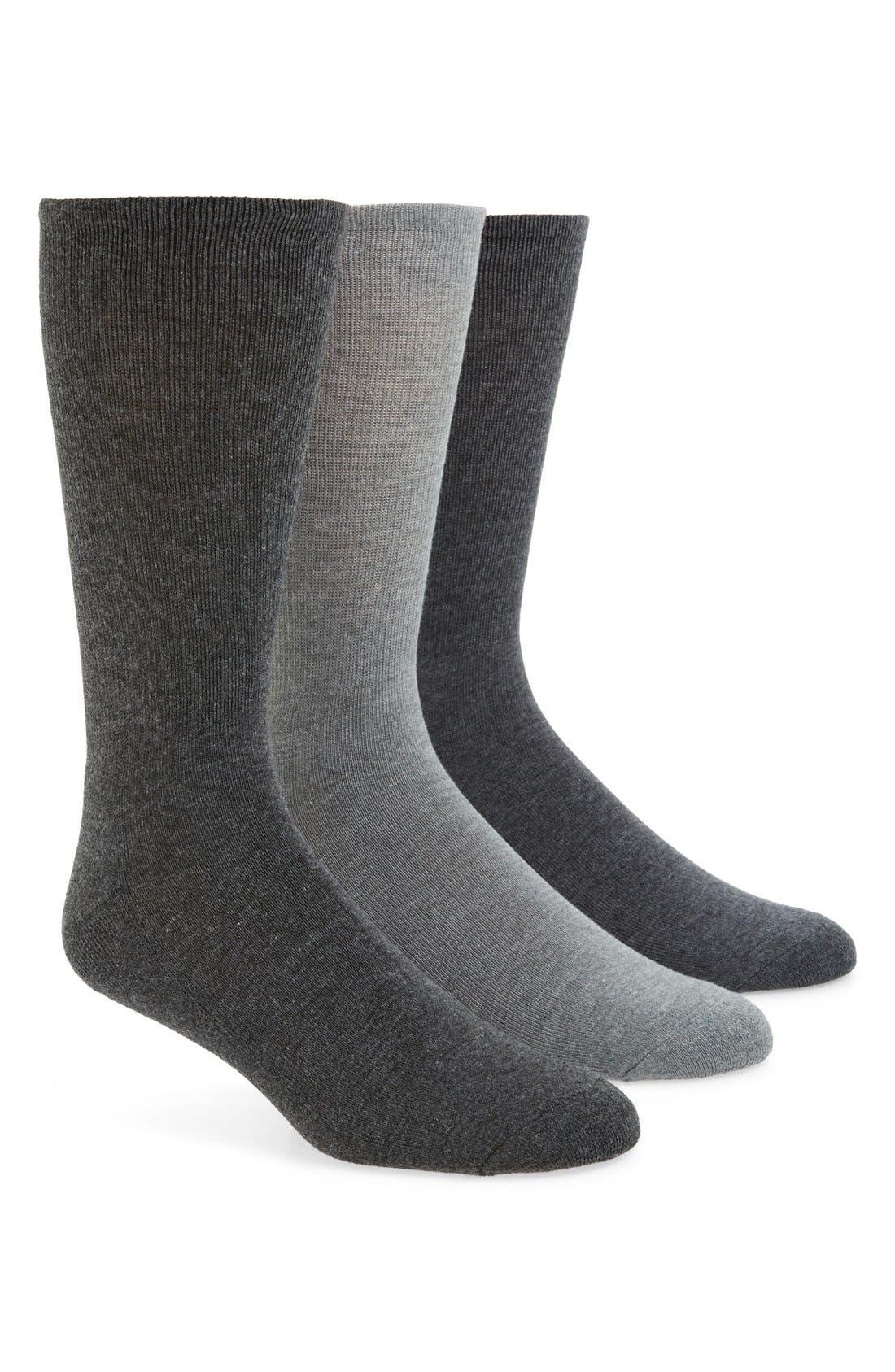 3-Pack Cotton Blend Socks,                             Main thumbnail 1, color,                             Grey