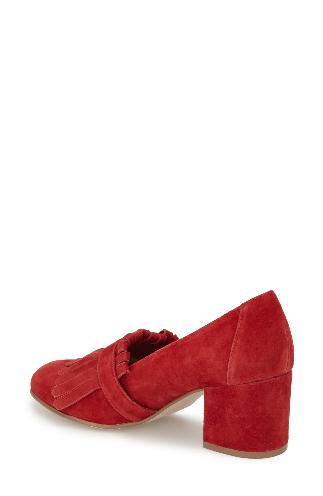 'Kate' Loafer Pumps,                             Alternate thumbnail 2, color,                             Red Suede