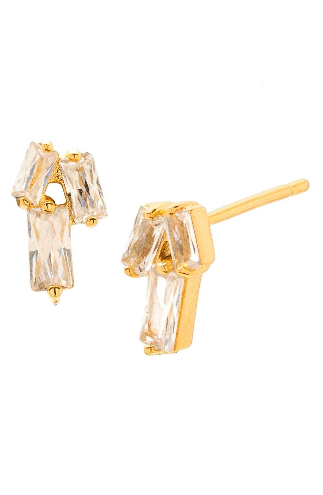 Amara Cubic Zirconia Stud Earrings,                         Main,                         color, Gold