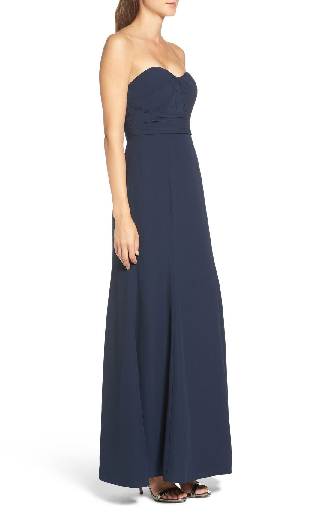 Strapless Chiffon Gown,                             Alternate thumbnail 3, color,                             Navy