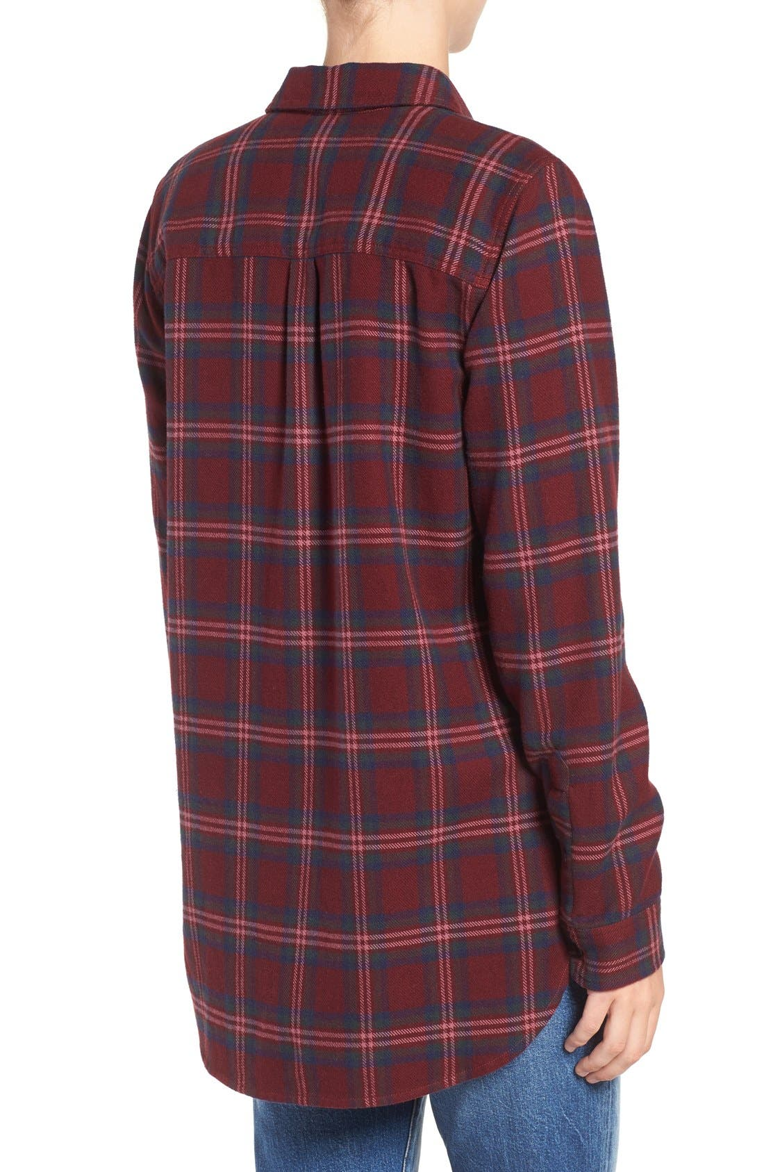 Shrunken Boyfriend Shirt,                             Alternate thumbnail 2, color,                             Dark Cabernet