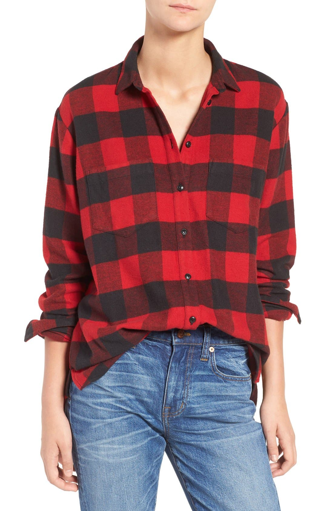 Ex-Boyfriend Oversize Boyfriend Shirt,                         Main,                         color, Red Sangria