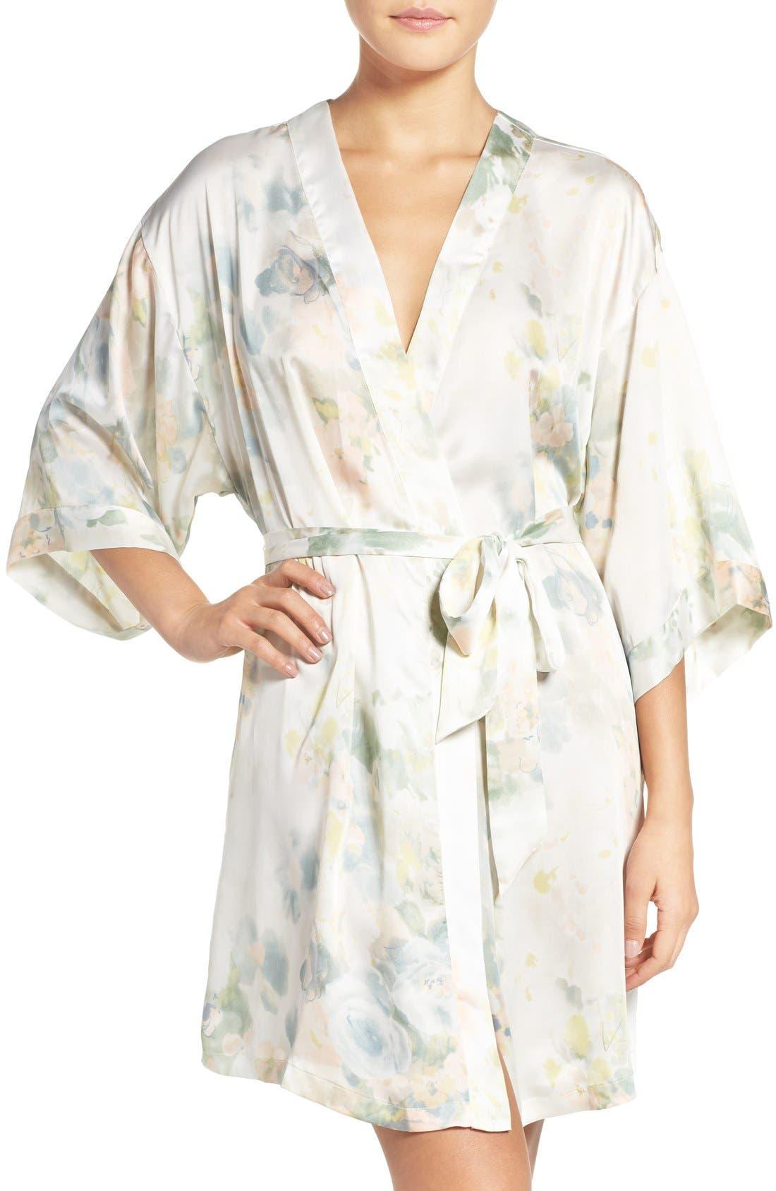 Isabella Floral Print Kimono Robe,                             Main thumbnail 1, color,                             Ivory Sage