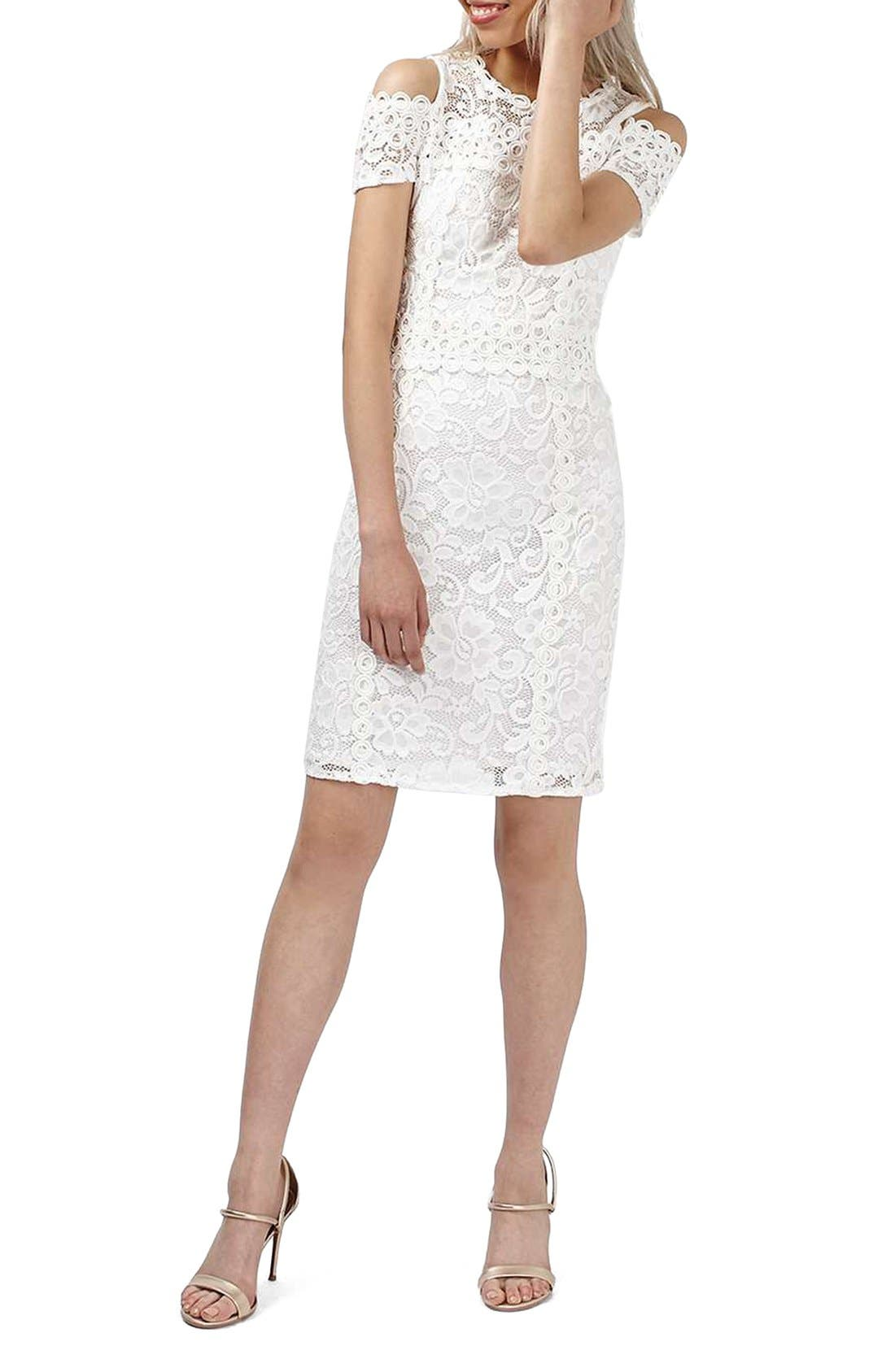 Main Image - Topshop Cold Shoulder Lace Body-Con Dress