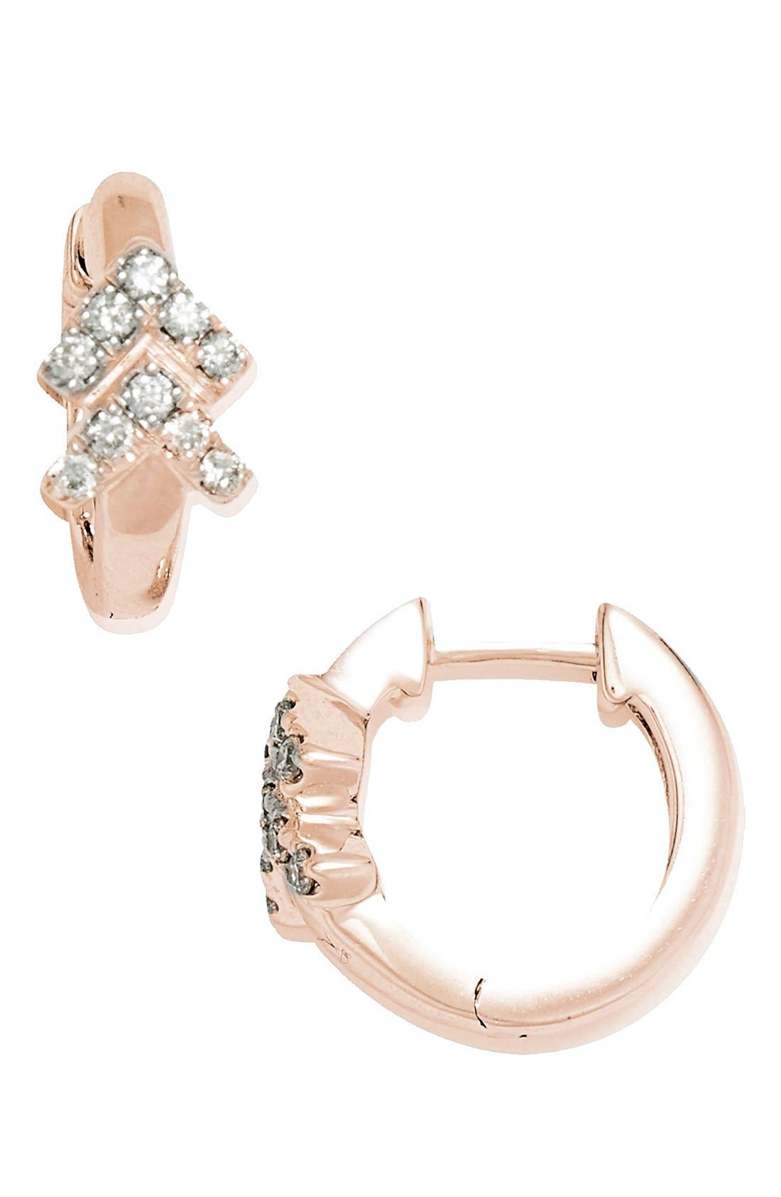 Double Arrow Diamond Hoop Earrings,                             Main thumbnail 1, color,                             Rose Gold