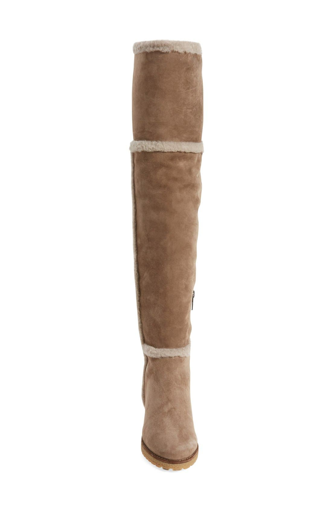 'Tamara' Genuine Shearling Over the Knee Boot,                             Alternate thumbnail 3, color,                             Taupe Suede