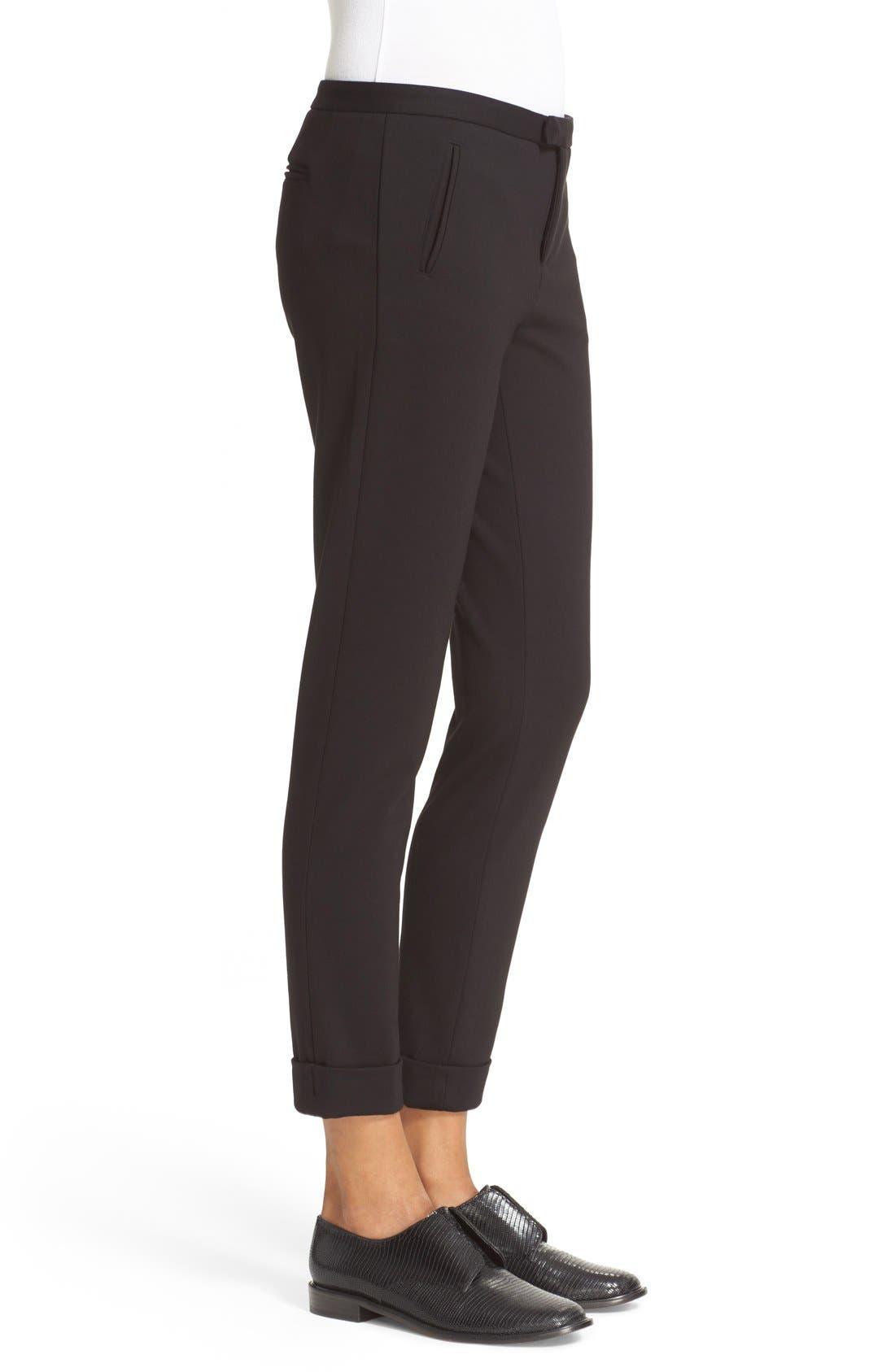 Slim Crop Pants,                             Alternate thumbnail 3, color,                             Black