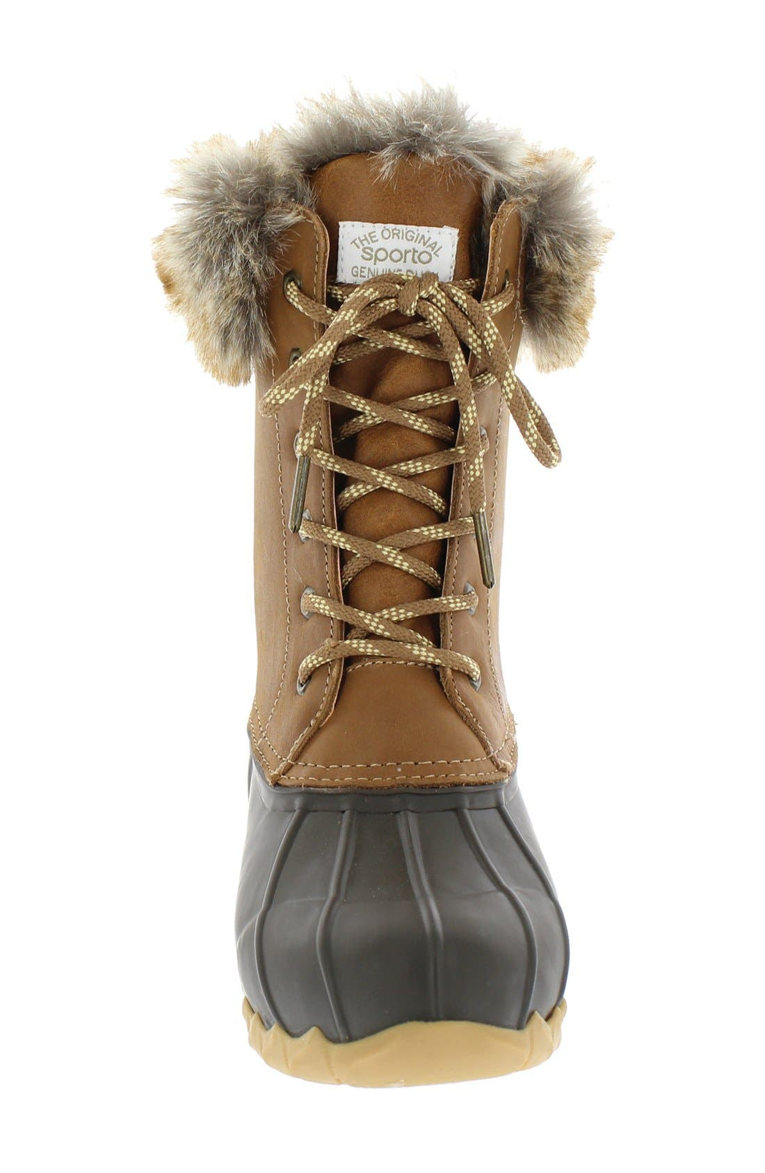 Agnus Faux Fur Lined Duck Boot,                             Alternate thumbnail 3, color,                             Tan