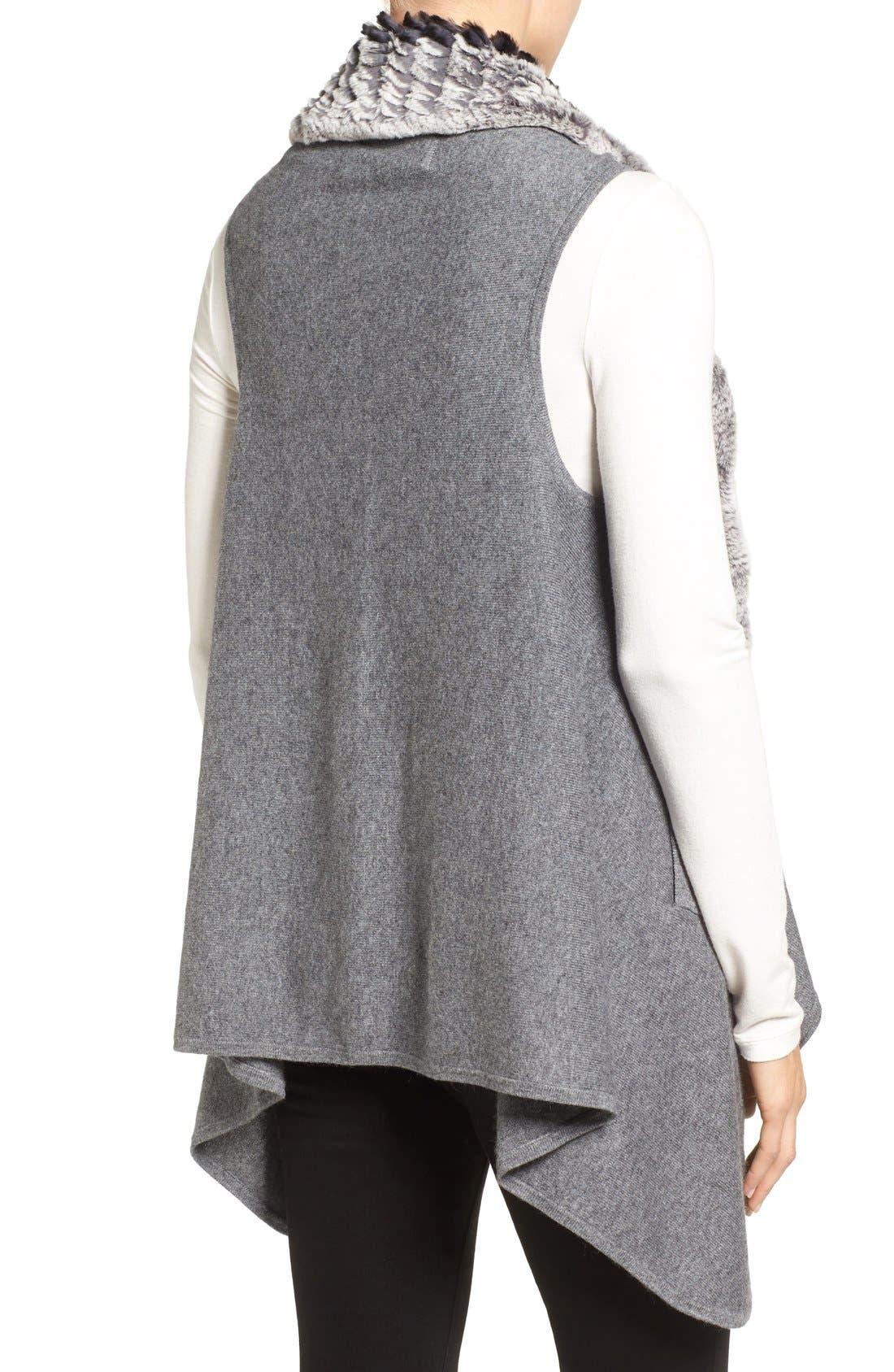 Cashmere Drape Vest with Genuine Rex Rabbit Fur Trim,                             Alternate thumbnail 2, color,                             Grey