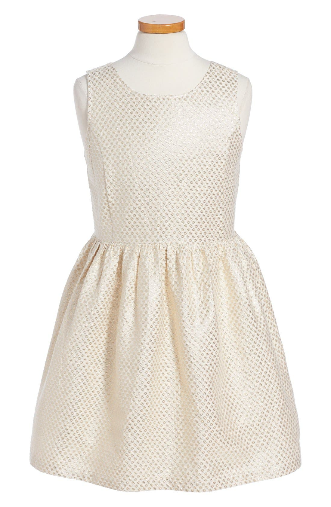 'Sophie' Metallic Dot Dress,                             Main thumbnail 1, color,                             Ivory Vanilla-Gold Dot