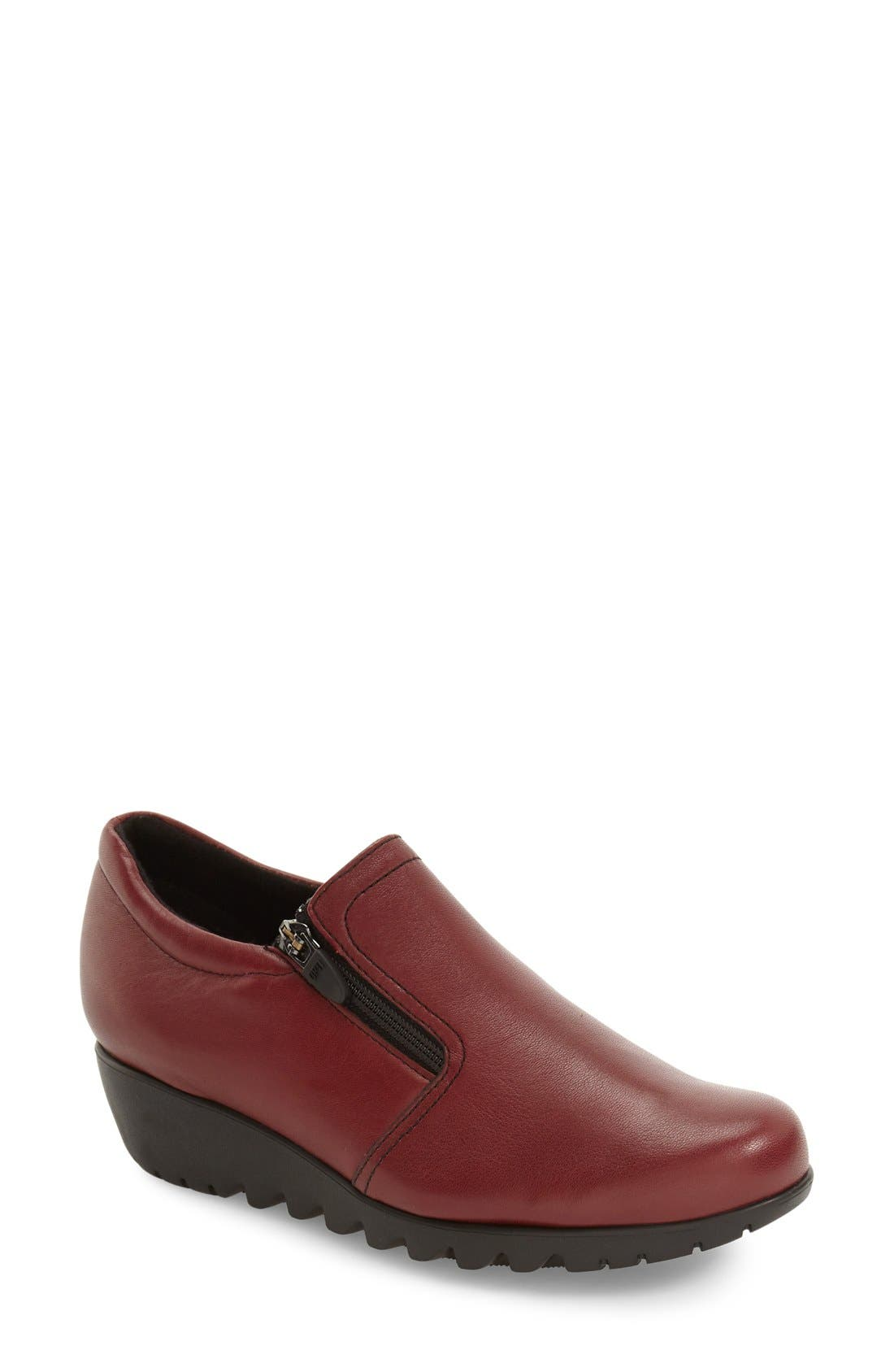 Napoli Zip Bootie,                             Main thumbnail 1, color,                             Red Leather