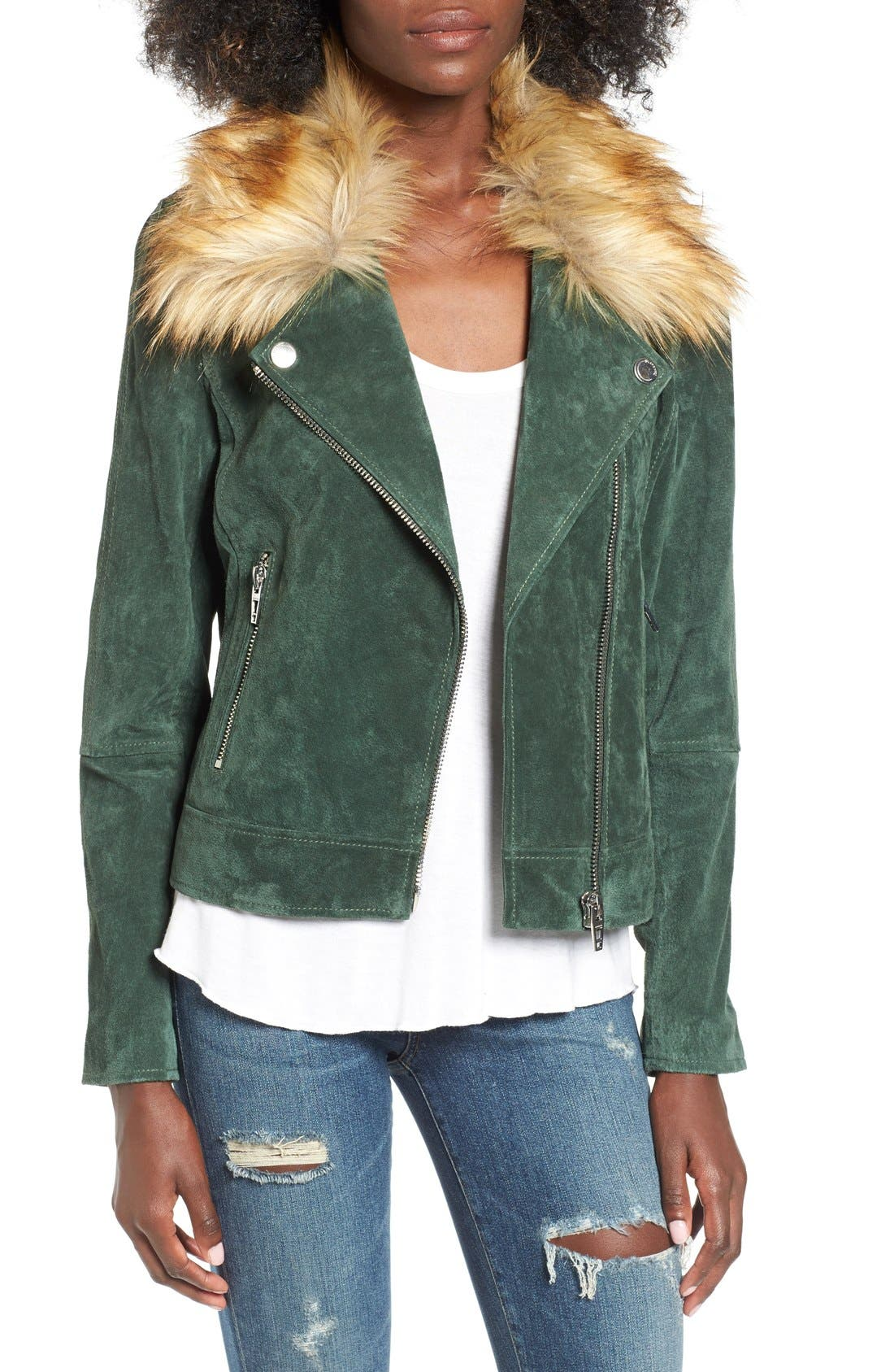 Alternate Image 4  - BLANKNYC Suede Moto Jacket with Detachable Faux Fur Collar